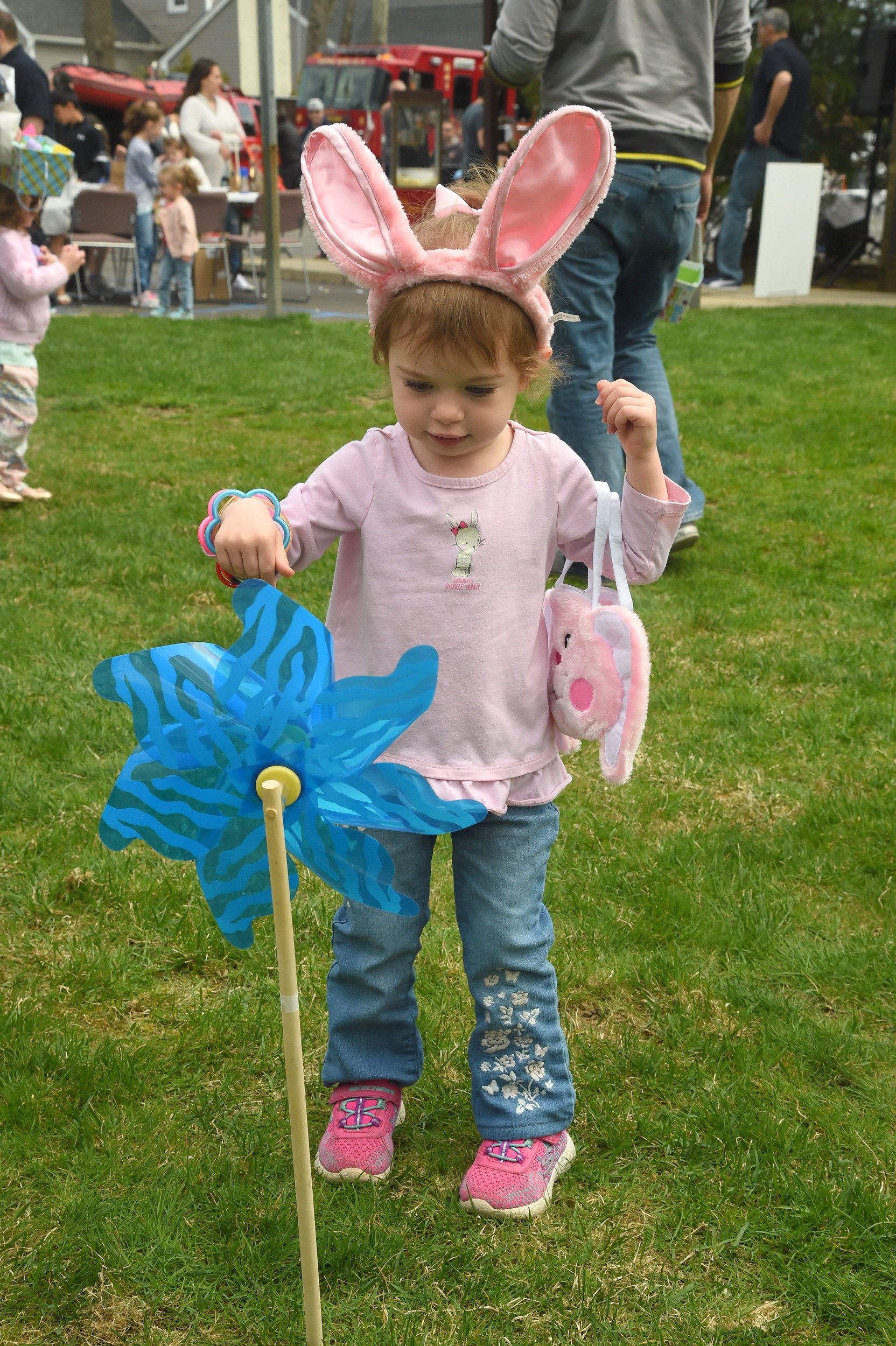 "Madeline Hatt, 2, dressed appropriately for Empire Hose Company 3's first annual Easter ""Eggstravaganza."""