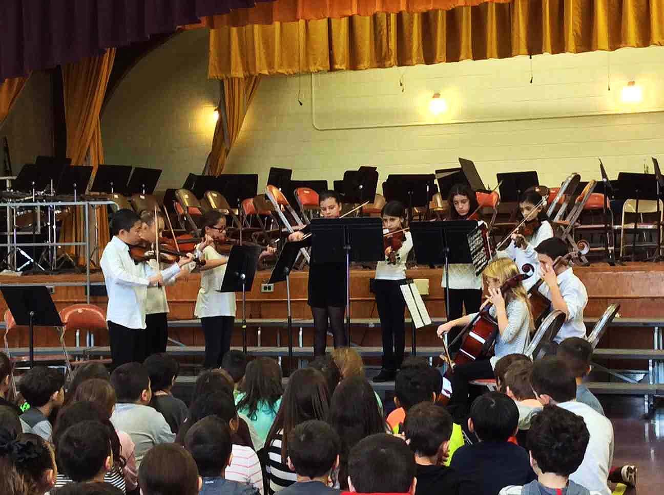 Members of the Birch School orchestra performed winter classics for students and teachers.