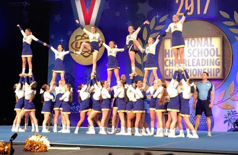 "The varsity team ended a routine at the national competition with a pyramid, ""nailing it down perfectly,"" coach Tara Shannon said."