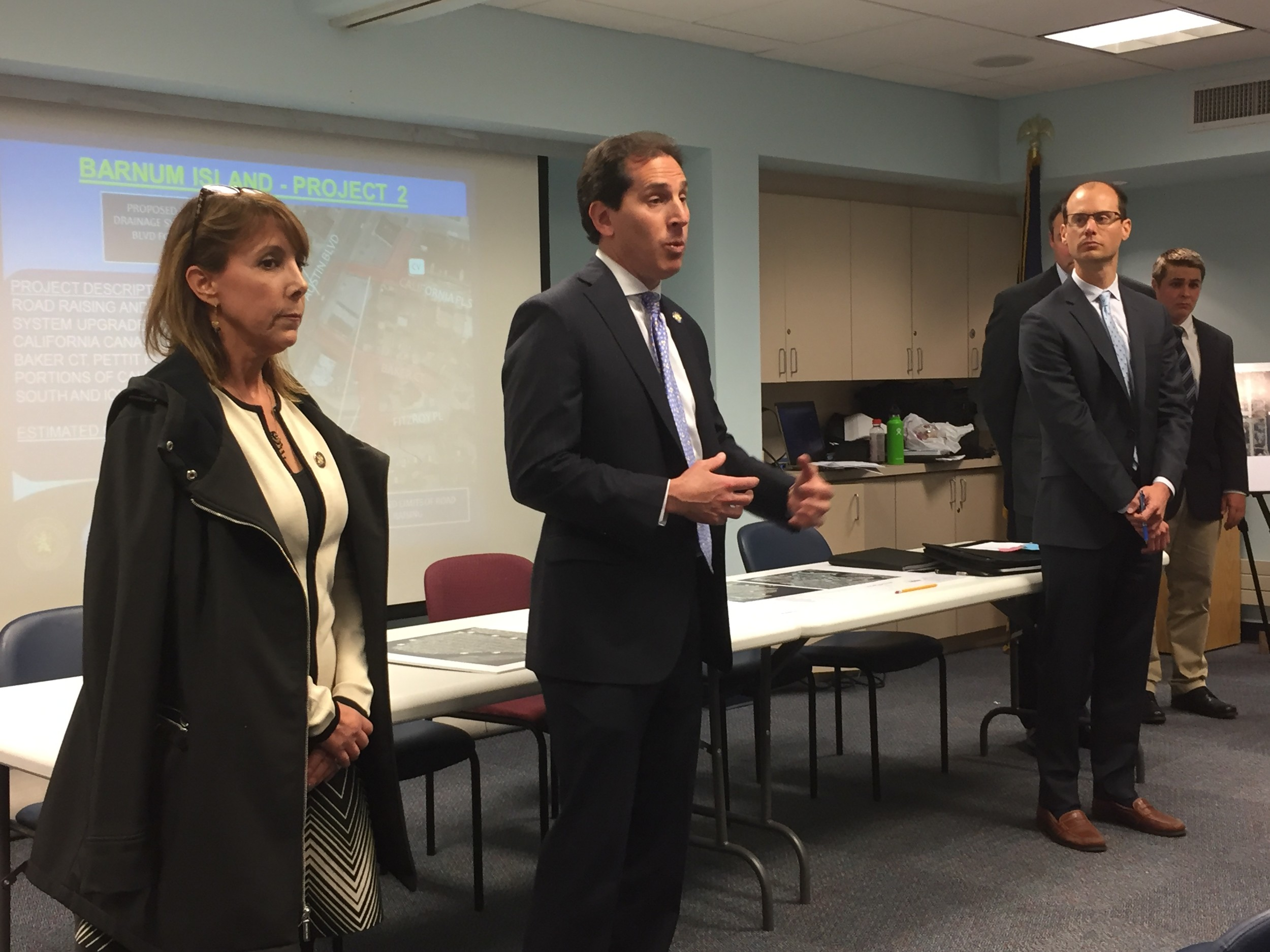 Assemblywoman Melissa Miller, State Sen. Todd Kaminsky and Sean Sallie, of the Nassau County Department of Public Works, attended the meeting. Legislator Denise Ford, not pictured, was also present.