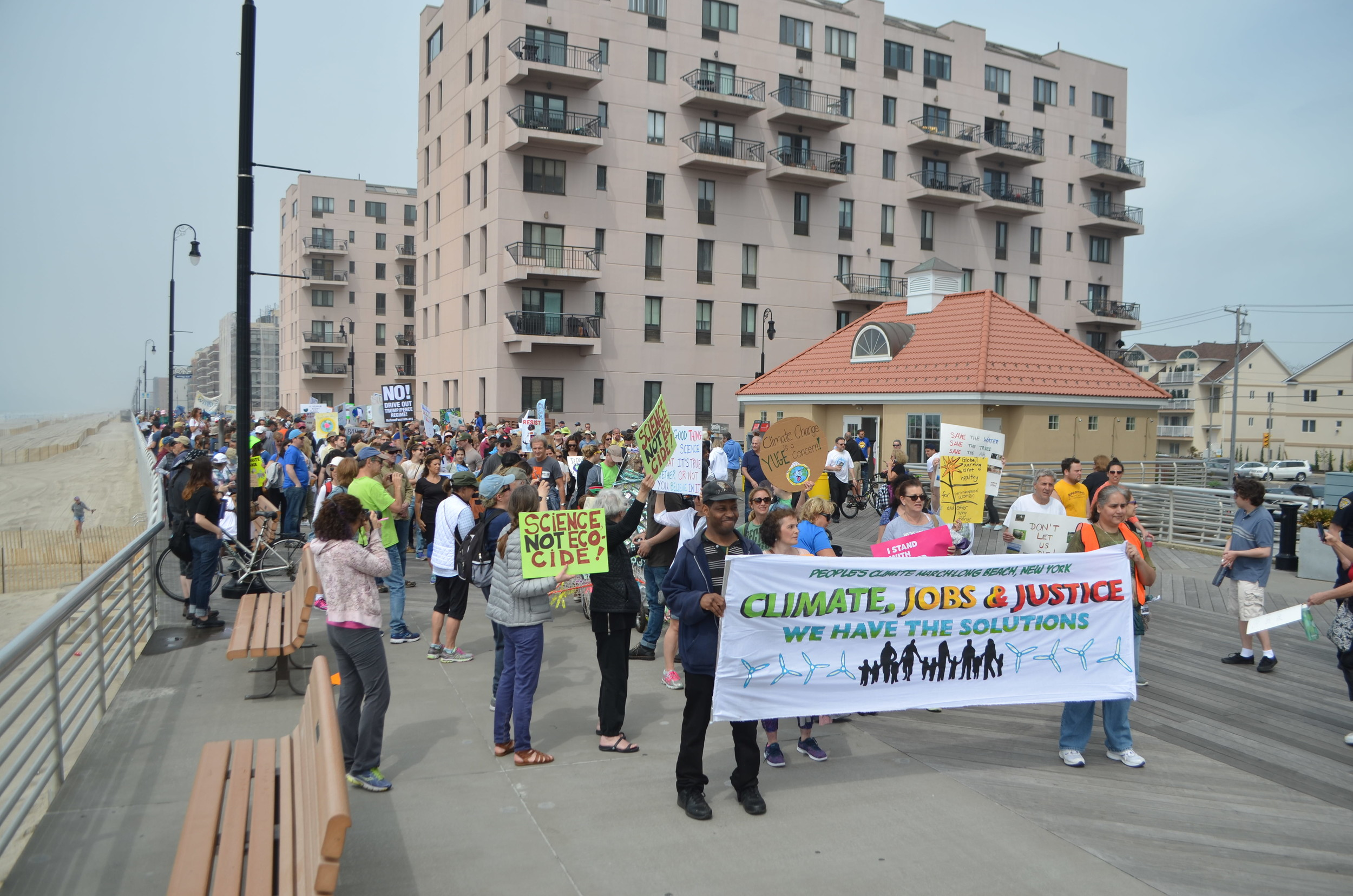 The march, which attracted about 700 people, began at National Boulevard and finished at the east end of the boardwalk.