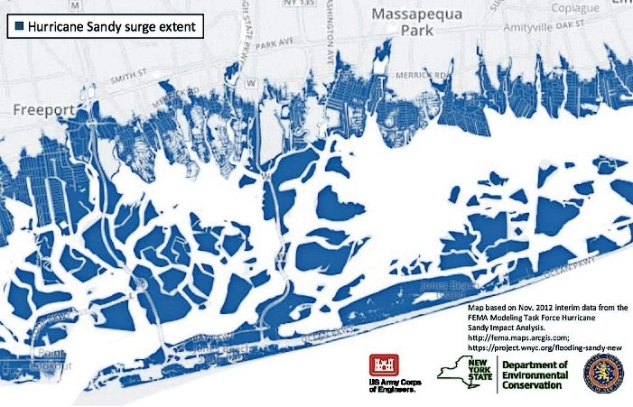U.S. Army Corps of Engineers representatives presented this chart — which shows coastal flooding that occurred near the bays in the Wantagh-Seaford area during Hurricane Sandy — to residents at a meeting at Seaford High School on May 2.