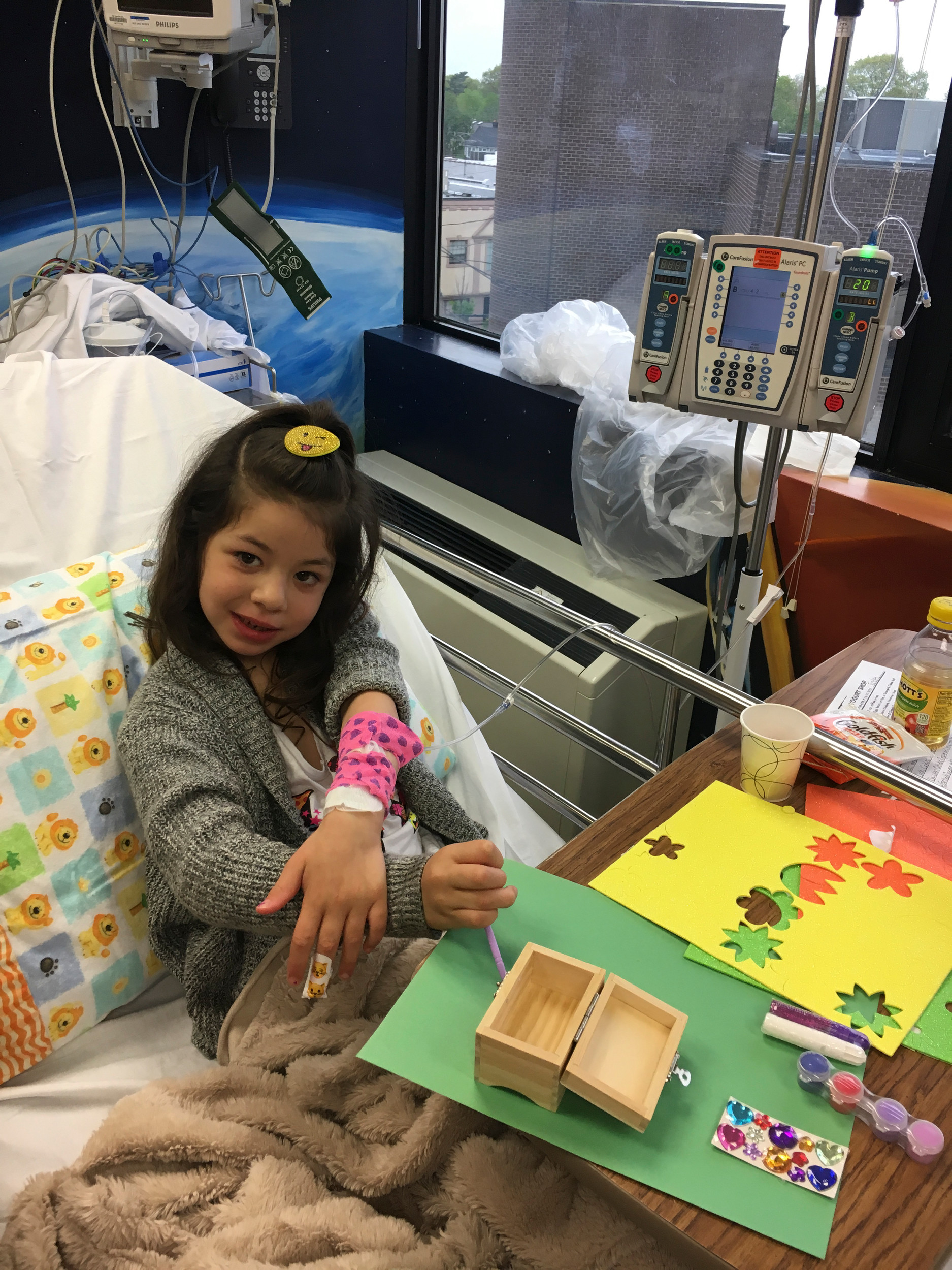 Victoria received an IV treatment at Winthrop University Hospital.