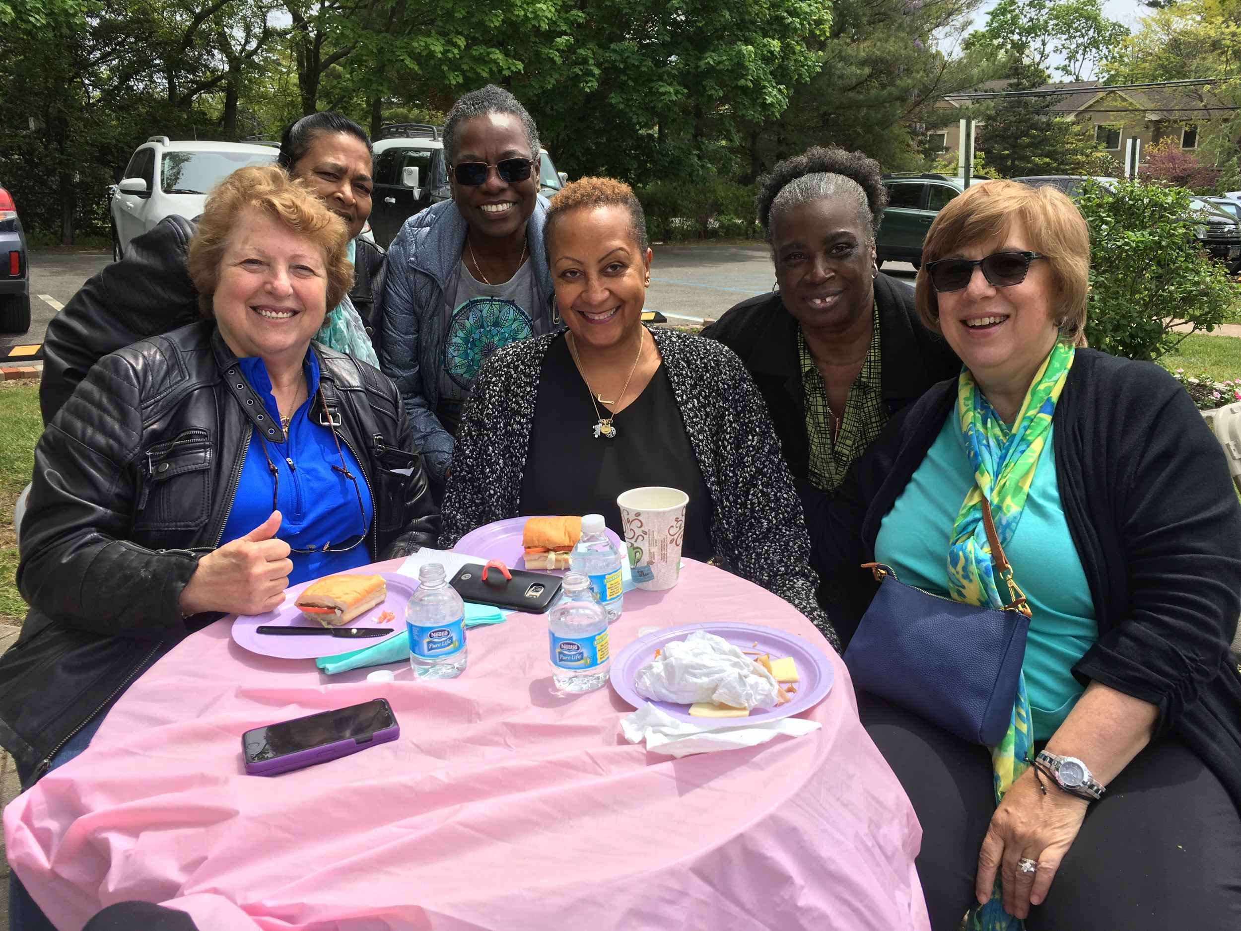 Marlene Natale, far left, a West Hempstead resident, with Nina Tribble, Nancy Coyle, Juliet King, Olivia Fox and Shirley Washington. All gather at the Hewlett House on a regular basis.