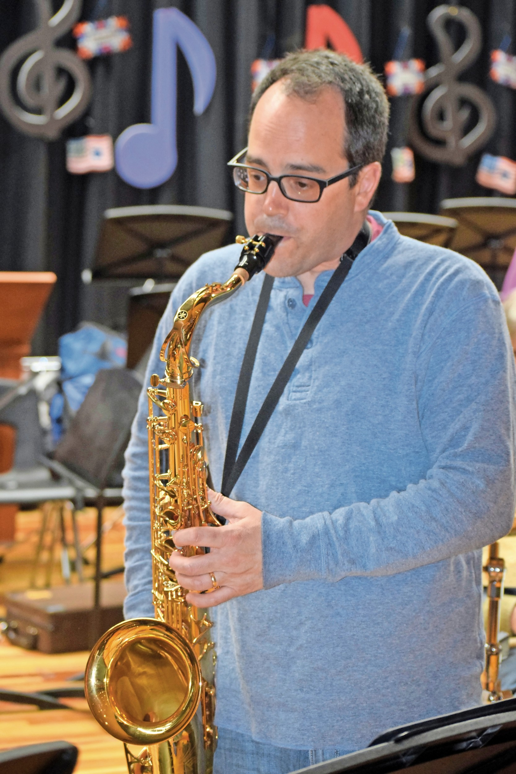Christopher D'Orio has played the tenor saxophone in the Seaford Community Jazz Band for four years.