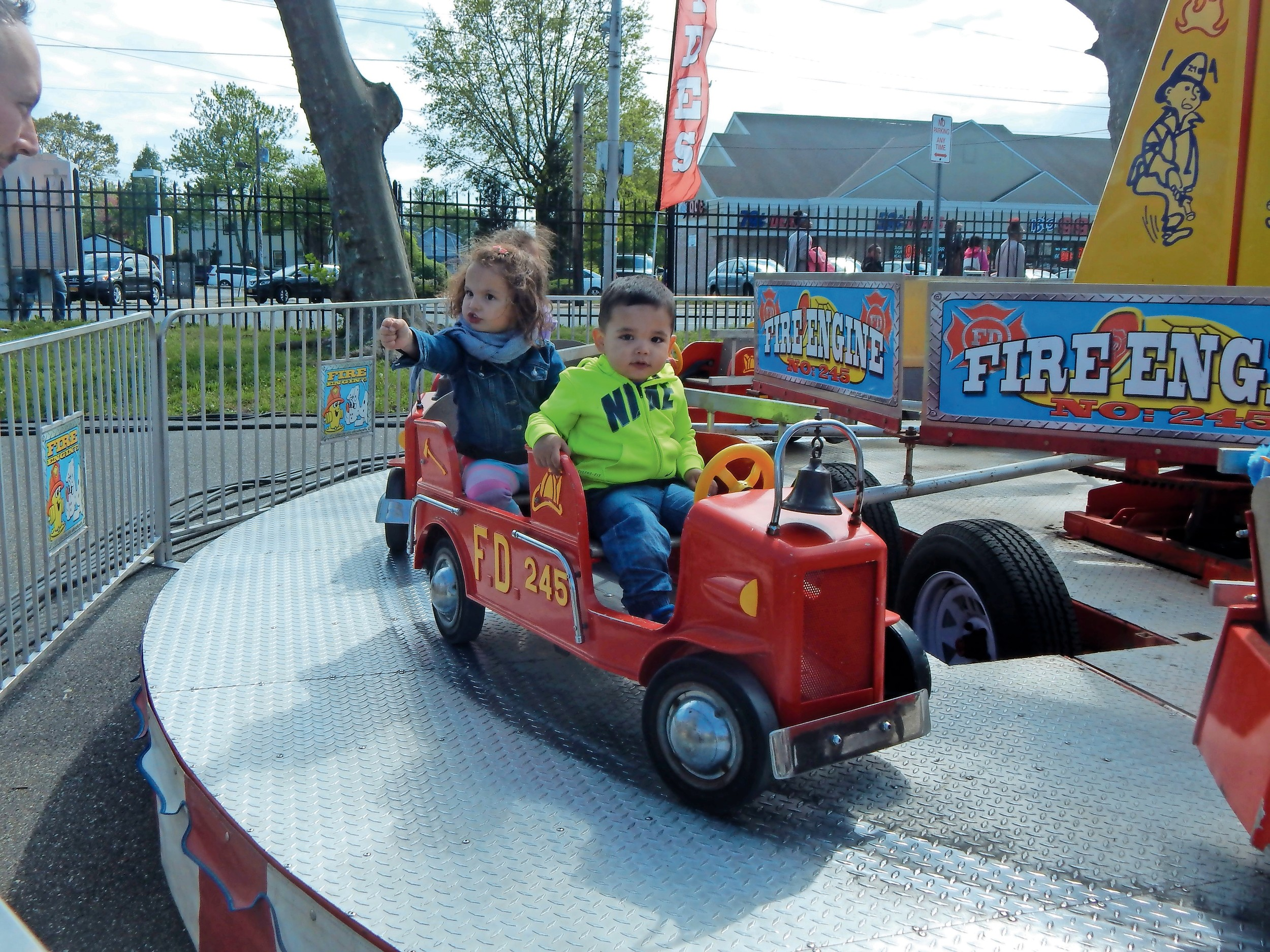 Kensington and Ashton Cambeiro had a great time on the fire engine ride.