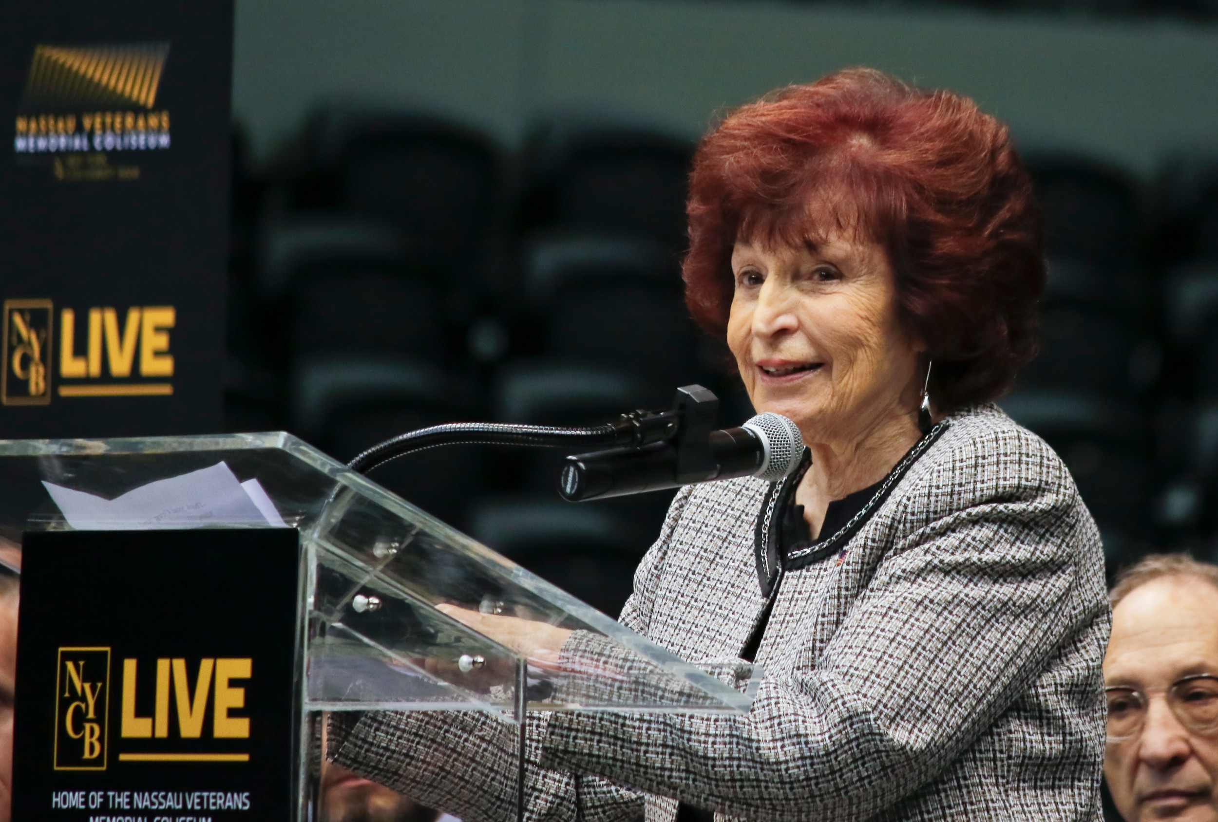 Norma Gonsalves delivered a speech at NYCB Live Nassau Veterans Memorial Coliseum's ribbon cutting in Uniondale on March 31.