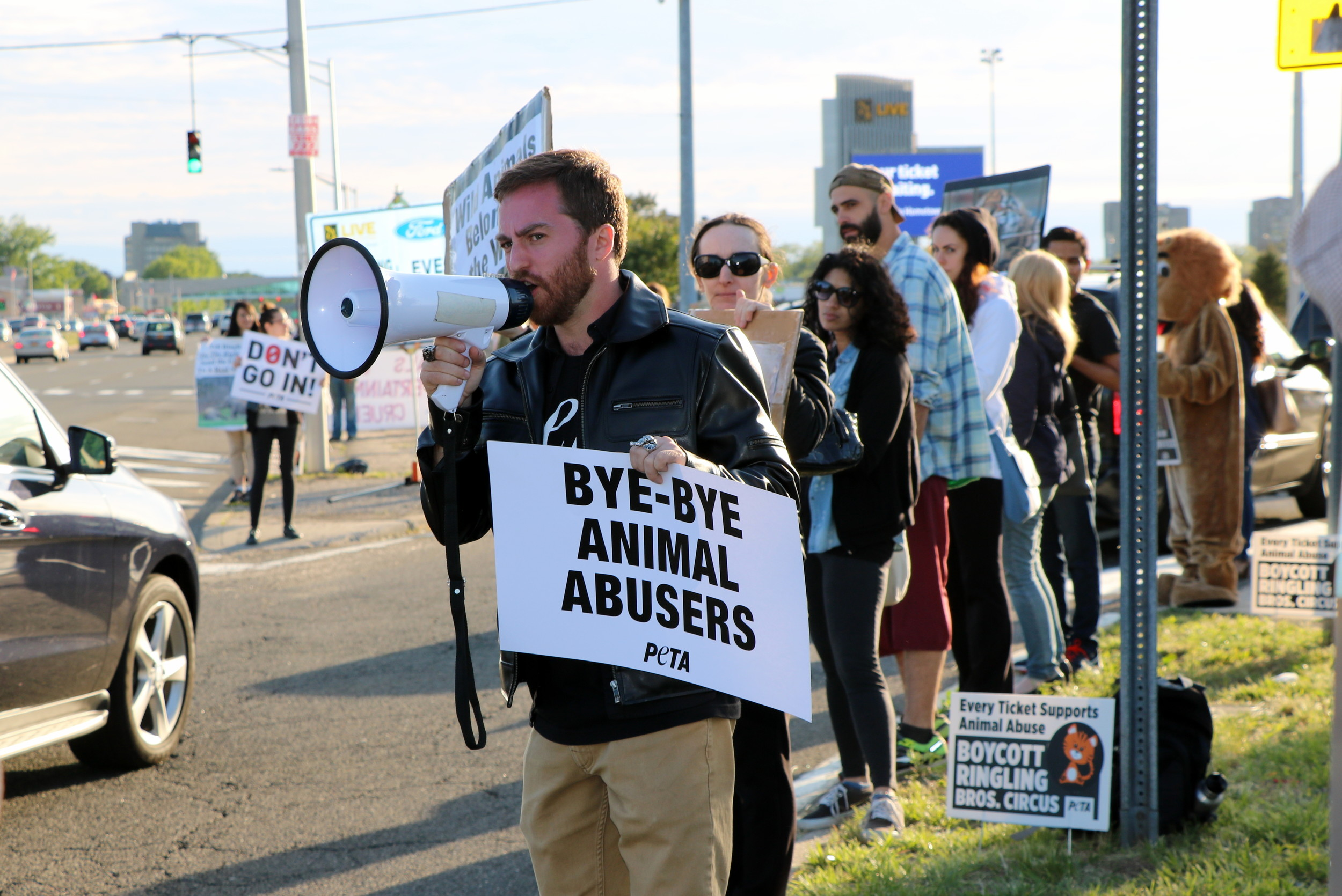 Malvernite and animal rights activist John Di Leonardo protested outside Nassau Coliseum on Hempstead Turnpike during Ringling Bros.' last performance.