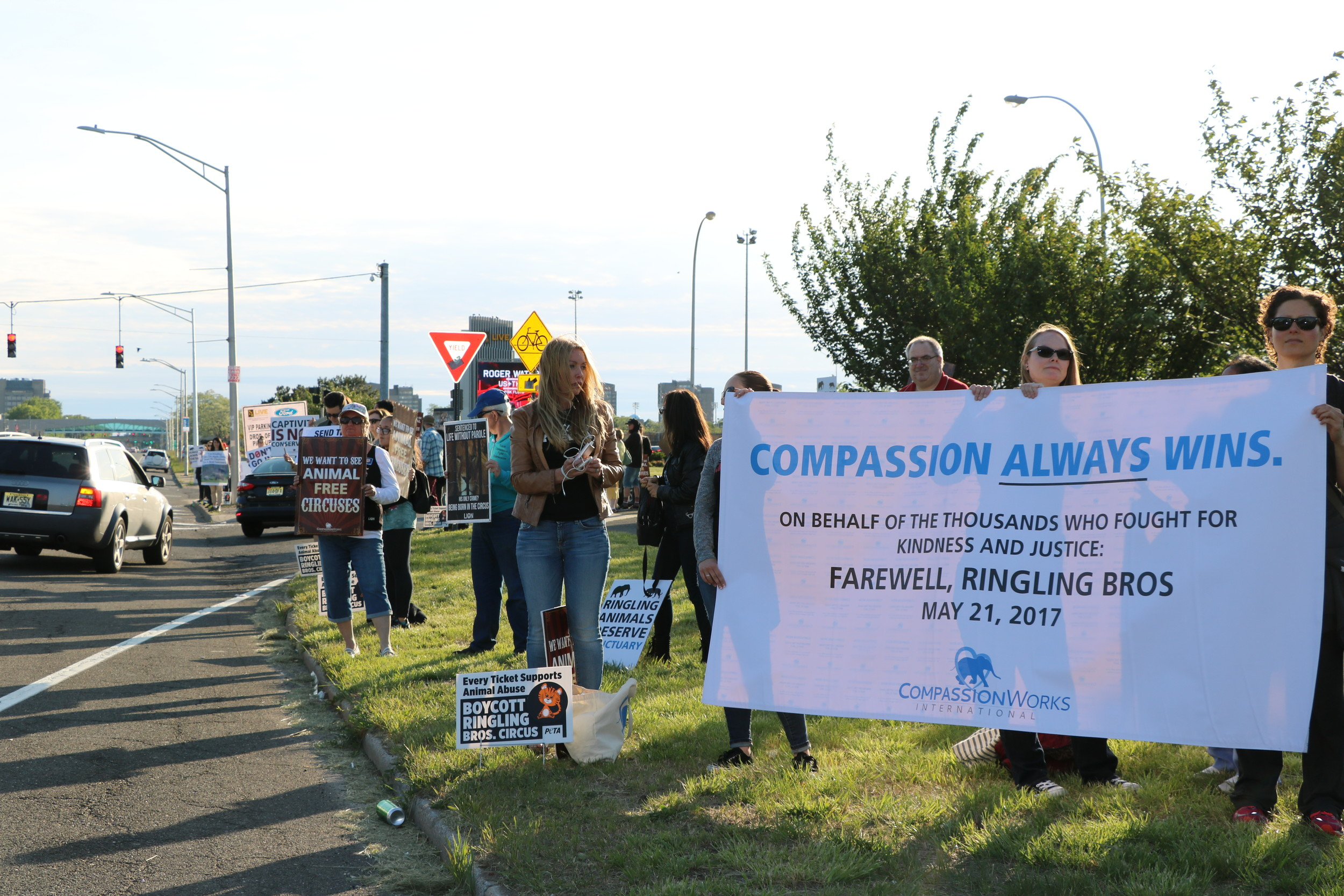 Animal rights activists outside Nassau Coliseum during the the final performance of the Ringling Bros. circus on May 21.