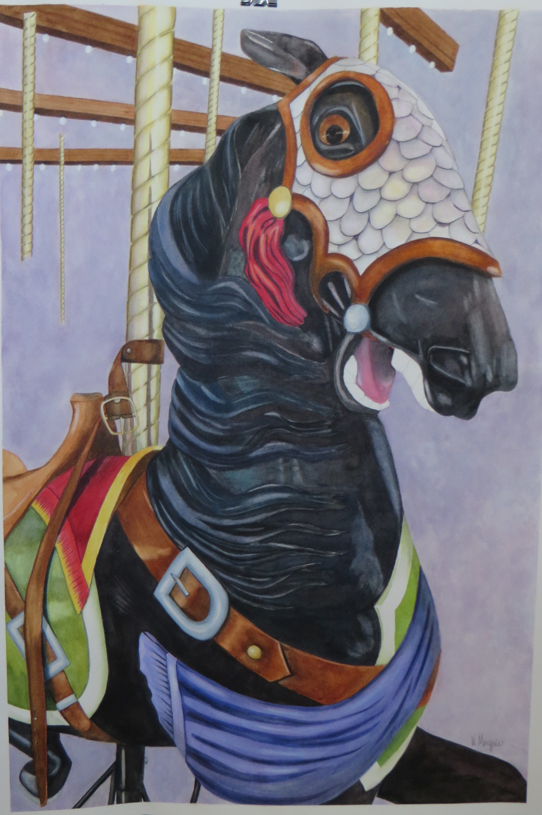 """Black Knight,"" a work of watercolor by Rockville Centre artist Warren Marquis, will be on display during the Malverne Chamber of Commerce's first annual ArtWalk."