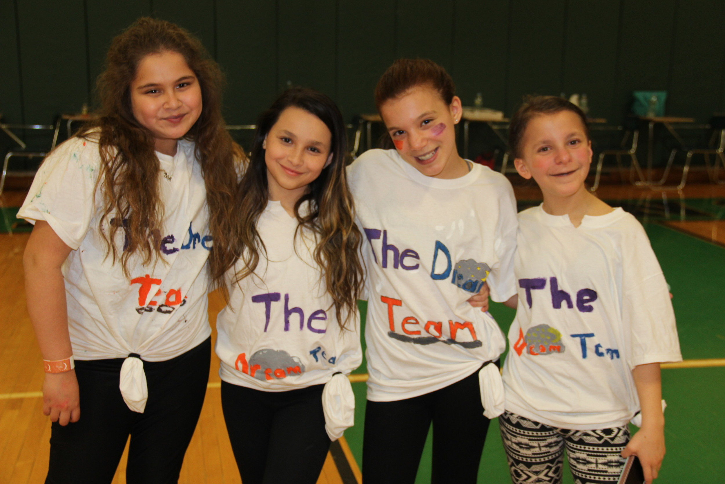 Sixth-graders Aria Khwaja, far left, Melinda Hosey, Nikolette Rodriguez and Michelina Lombardi made up the Dream Team.