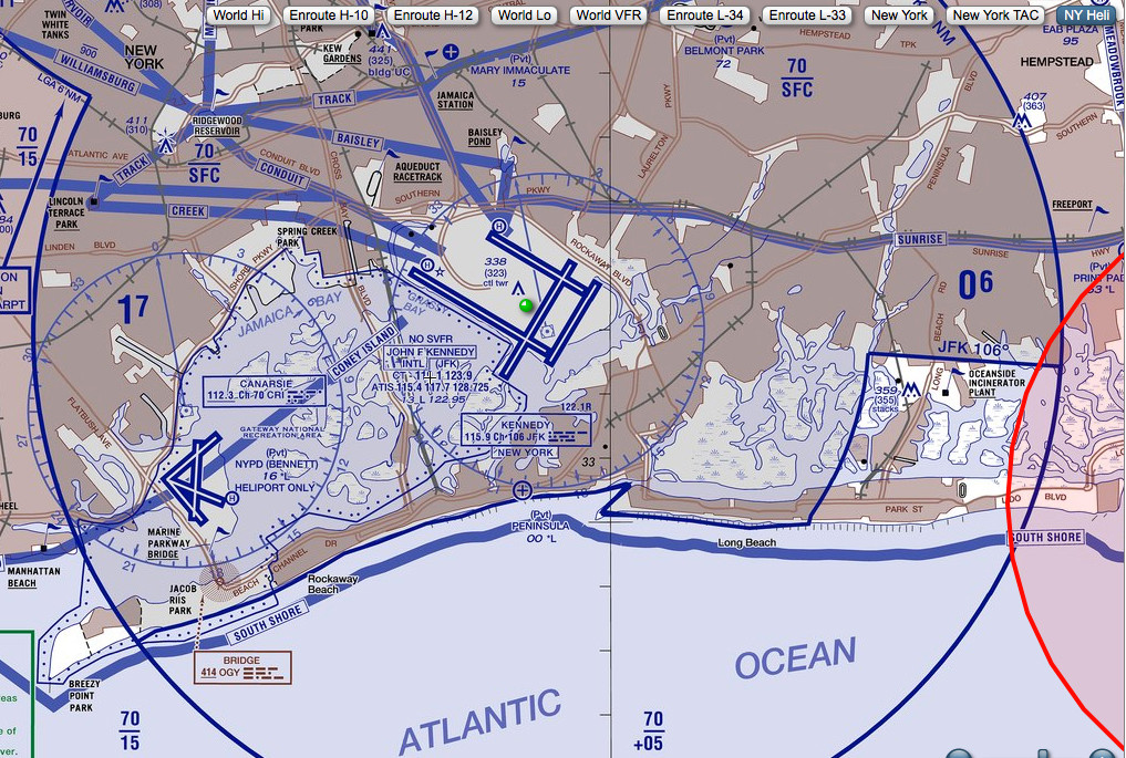 The South Shore portion of the New York helicopter flight plan.