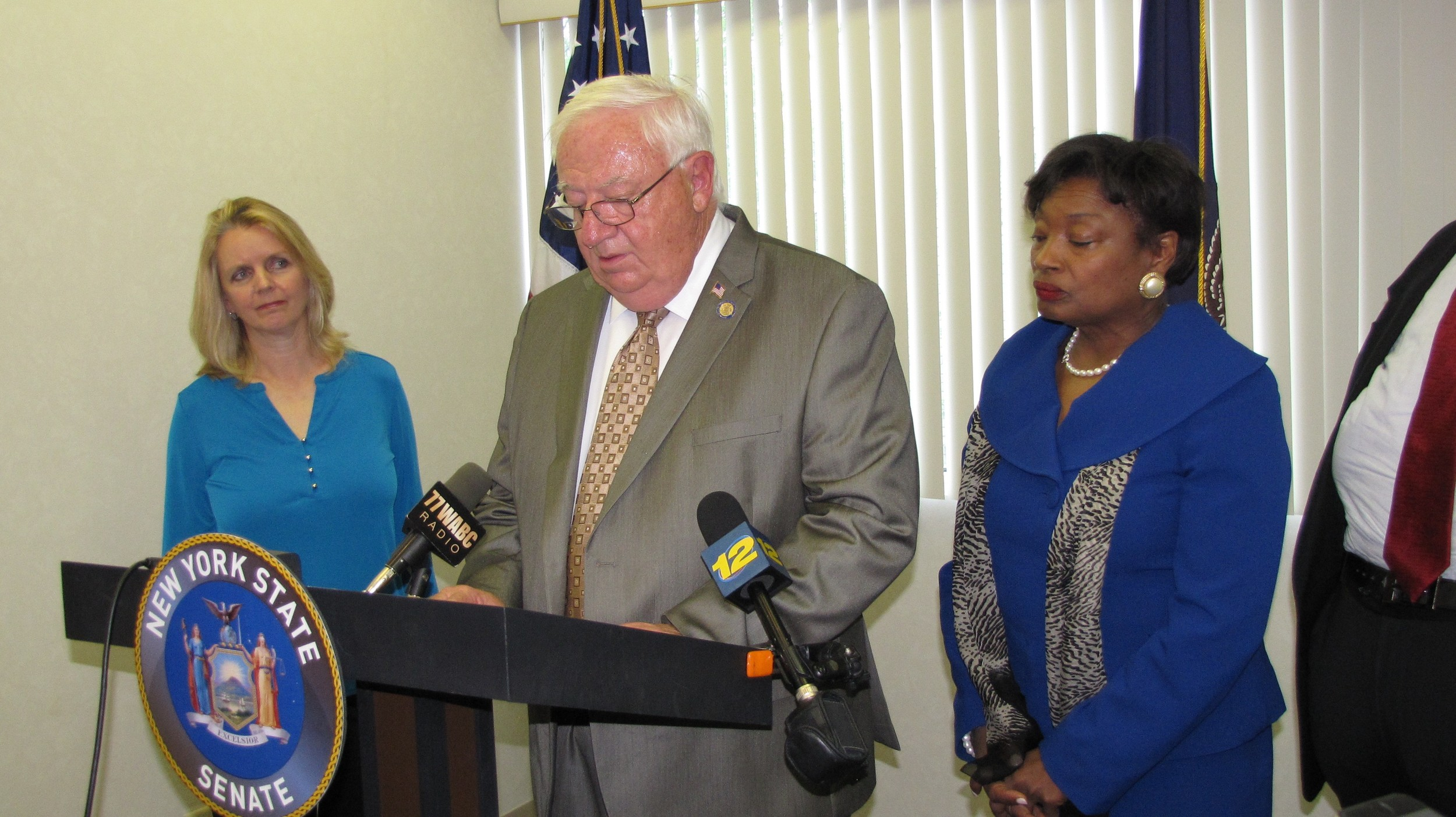 Village of Freeport Trustee Debra Mule, left, represented the village during a news conference last week on illegal dumping and Superfund cuts with State Sen. John Brooks and Senate Democratic Leader Andrea Stewart-Cousins.