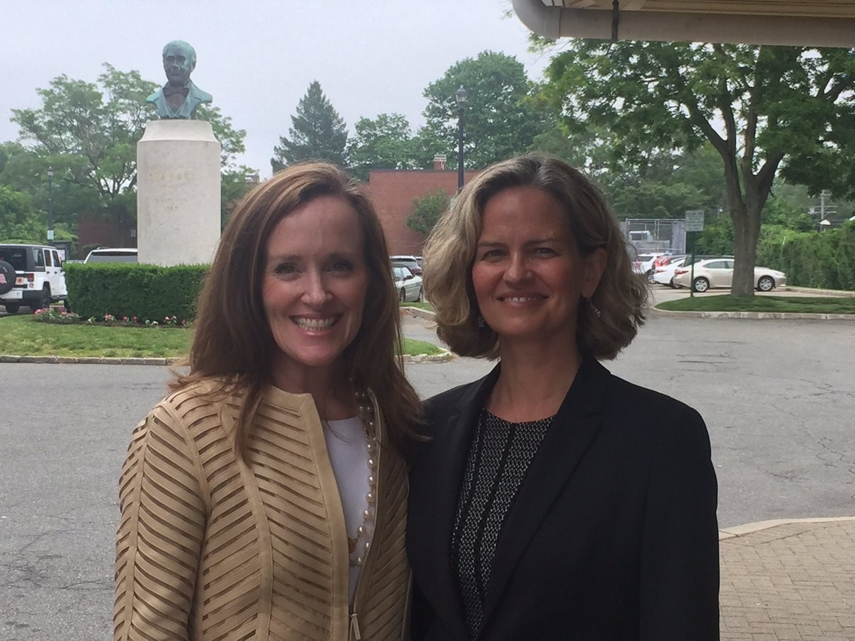 Kathleen Rice, left, U.S. Representative for the Fourth District, announced on Monday her support for Democratic Legislator Laura Curran, of Baldwin, in the race for county executive.
