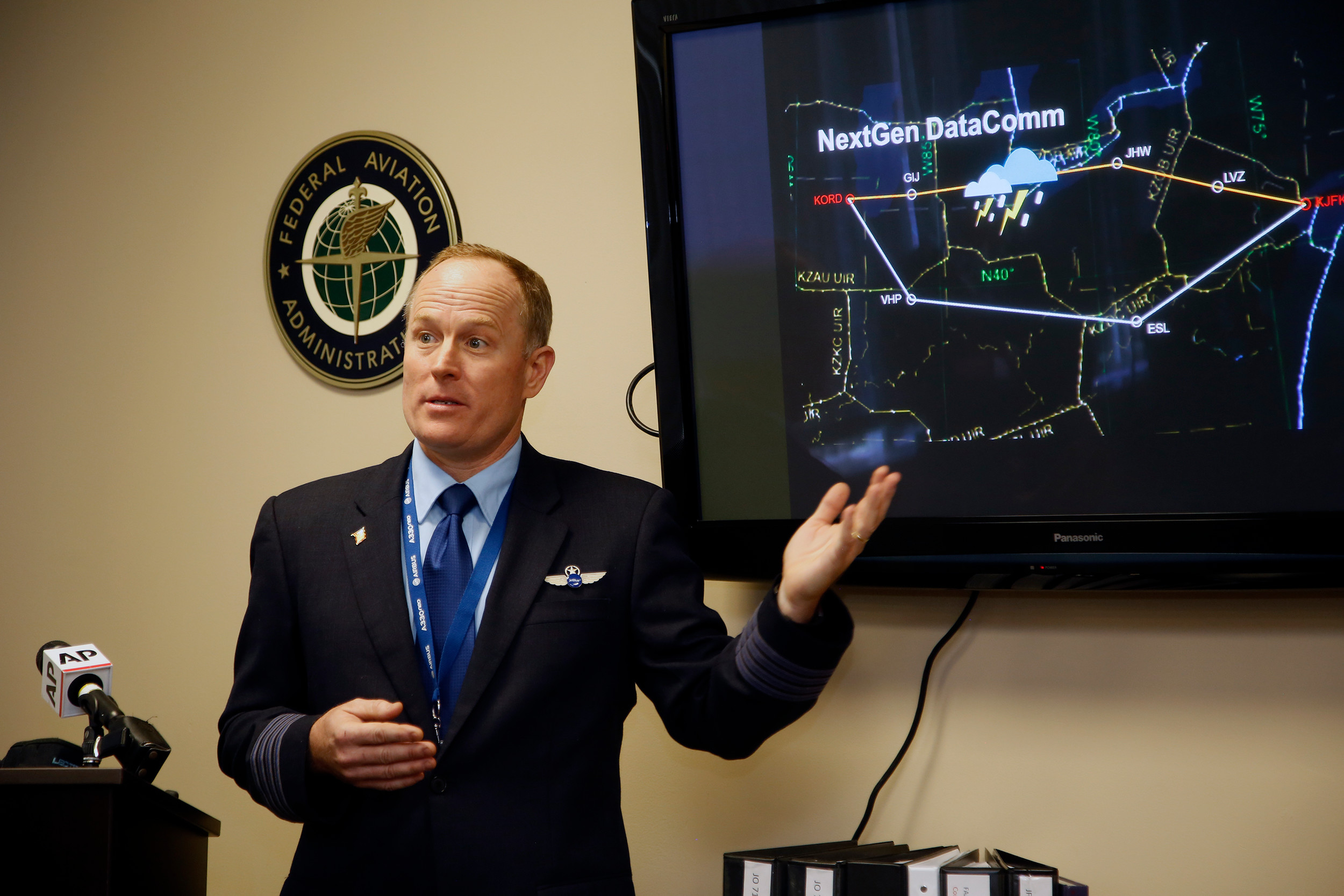 Charles Cook III, manager of fleet programs and technology for JetBlue Airways, demonstrated NextGen during a press event in March.