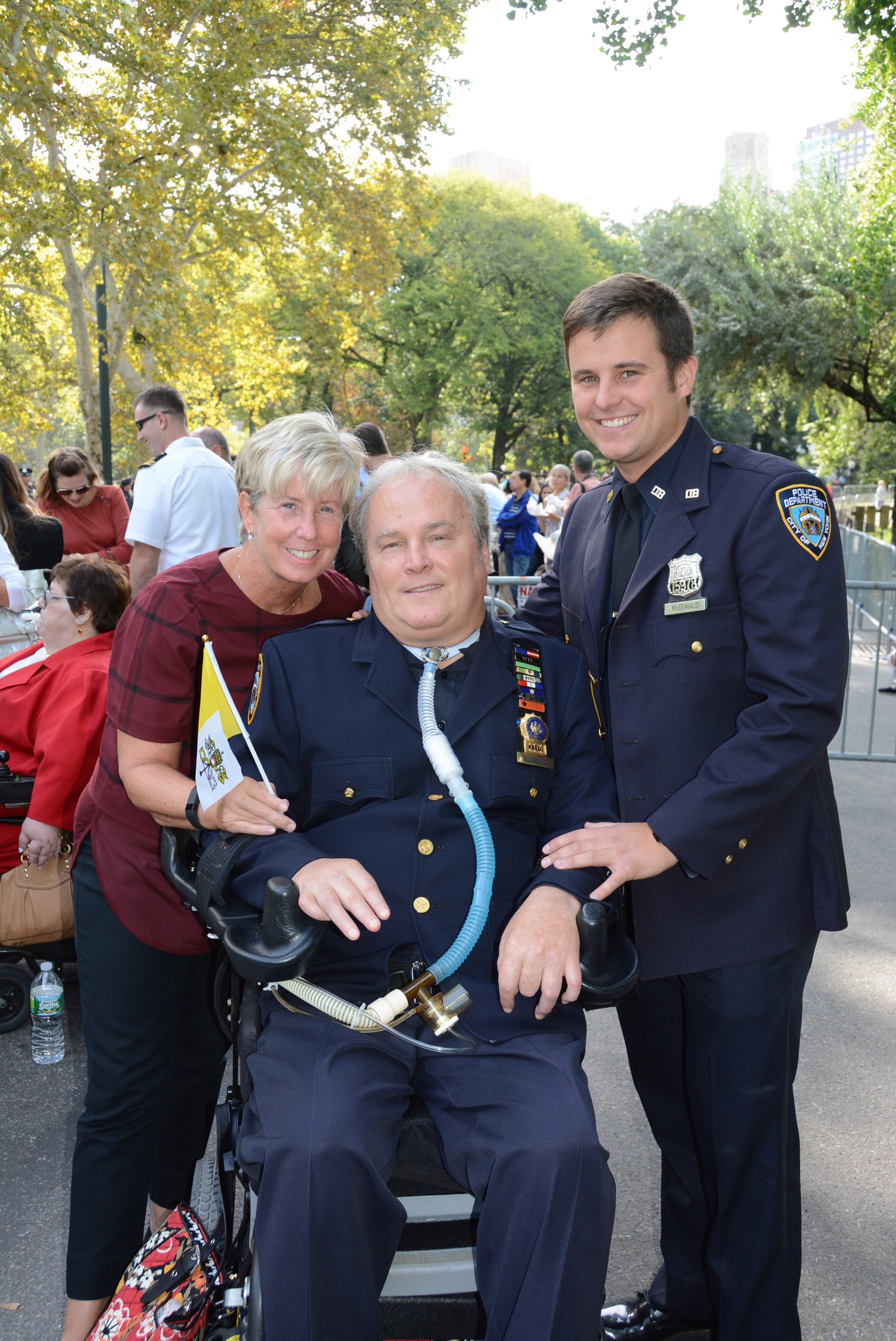 NYPD Det. Steven McDonald, center, with his wife, Malverne Mayor Patti Ann McDonald and their son, Connor McDonald in Central Park in 2015.