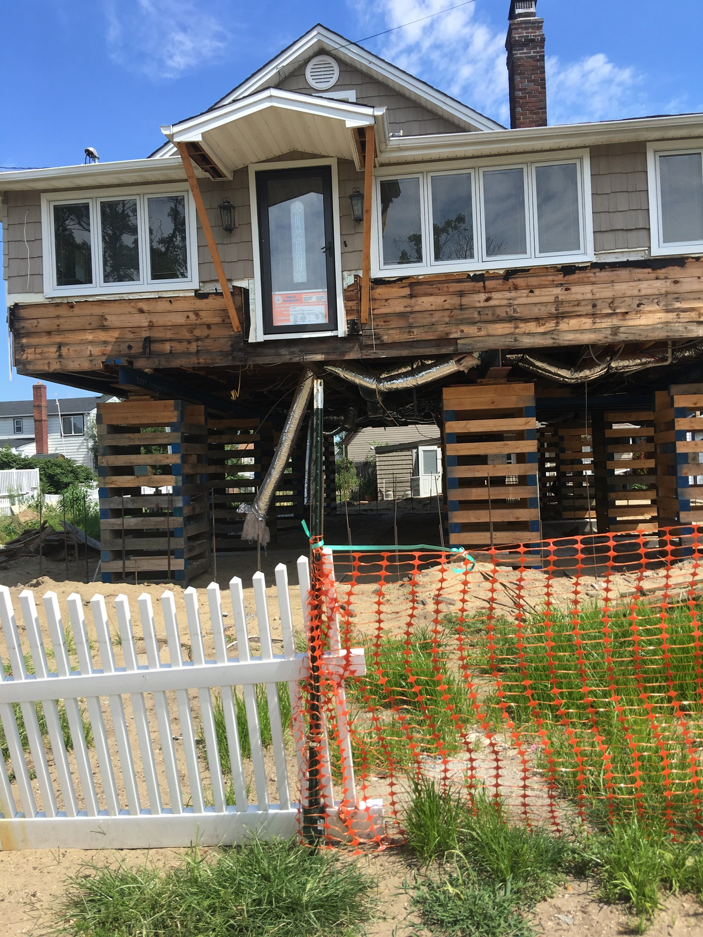 Donna Prisciandaro said that her Bay Park home was suspended in the air on stilts for 11 months after two contractors took money from her to raise it and did not finish the job.