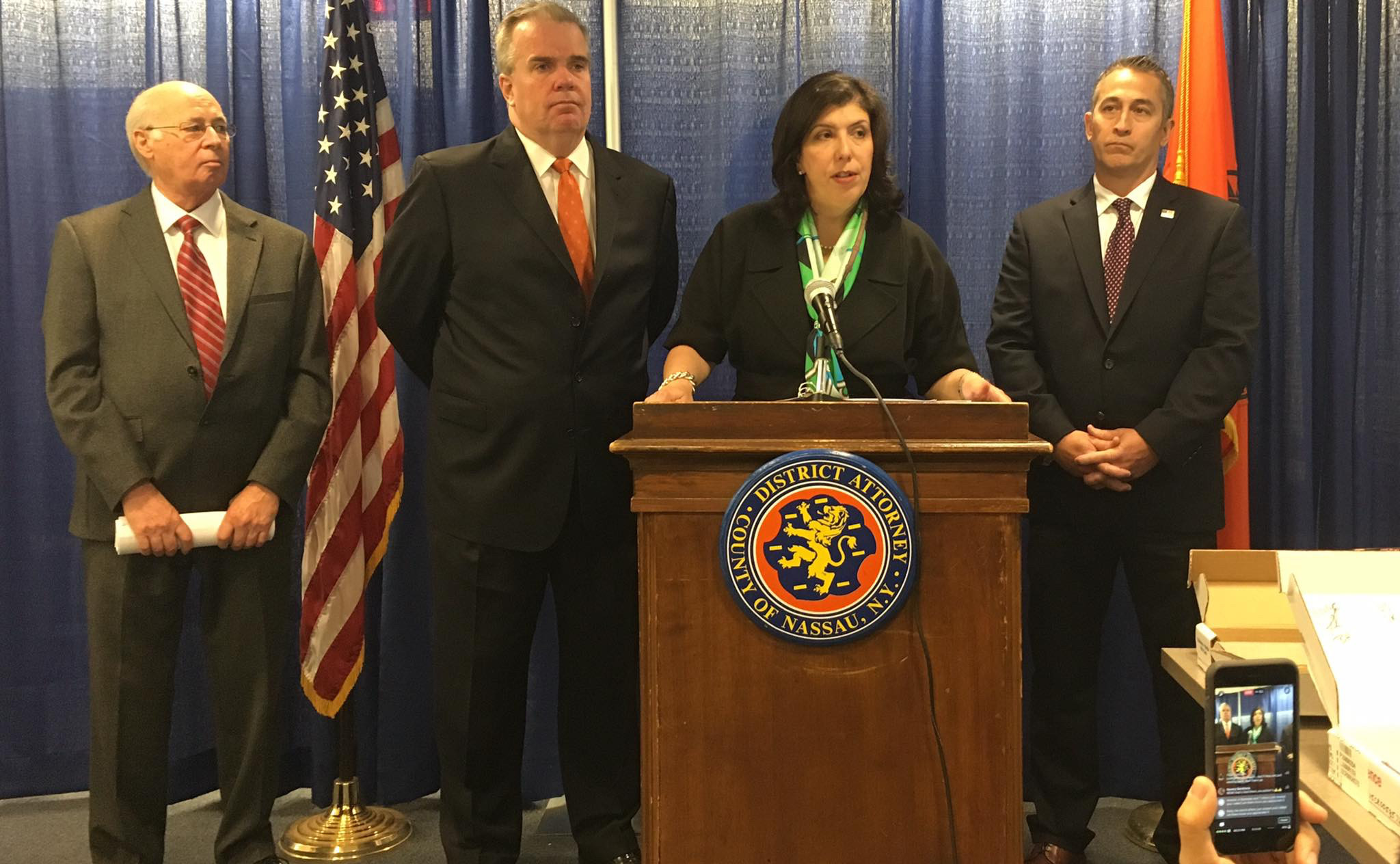 Nassau County District Attorney Madeline Singas announced the indictments of 41 alleged members of the MS-13 gang on June 15. With her are, extreme left, Edward Friedenthal, chief of Singas' Special Operations, Narcotics and Gang unit; Nassau County Police Commissioner Thomas Krumpter and Assistant Special Agent in Charge of Homeland Security Investigations, Jason Molina.