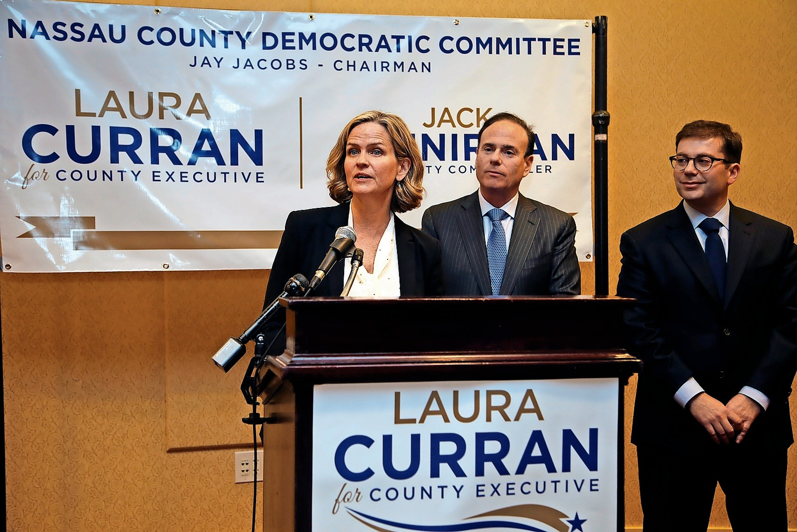 County Legislator Laura Curran at a news conference in January.