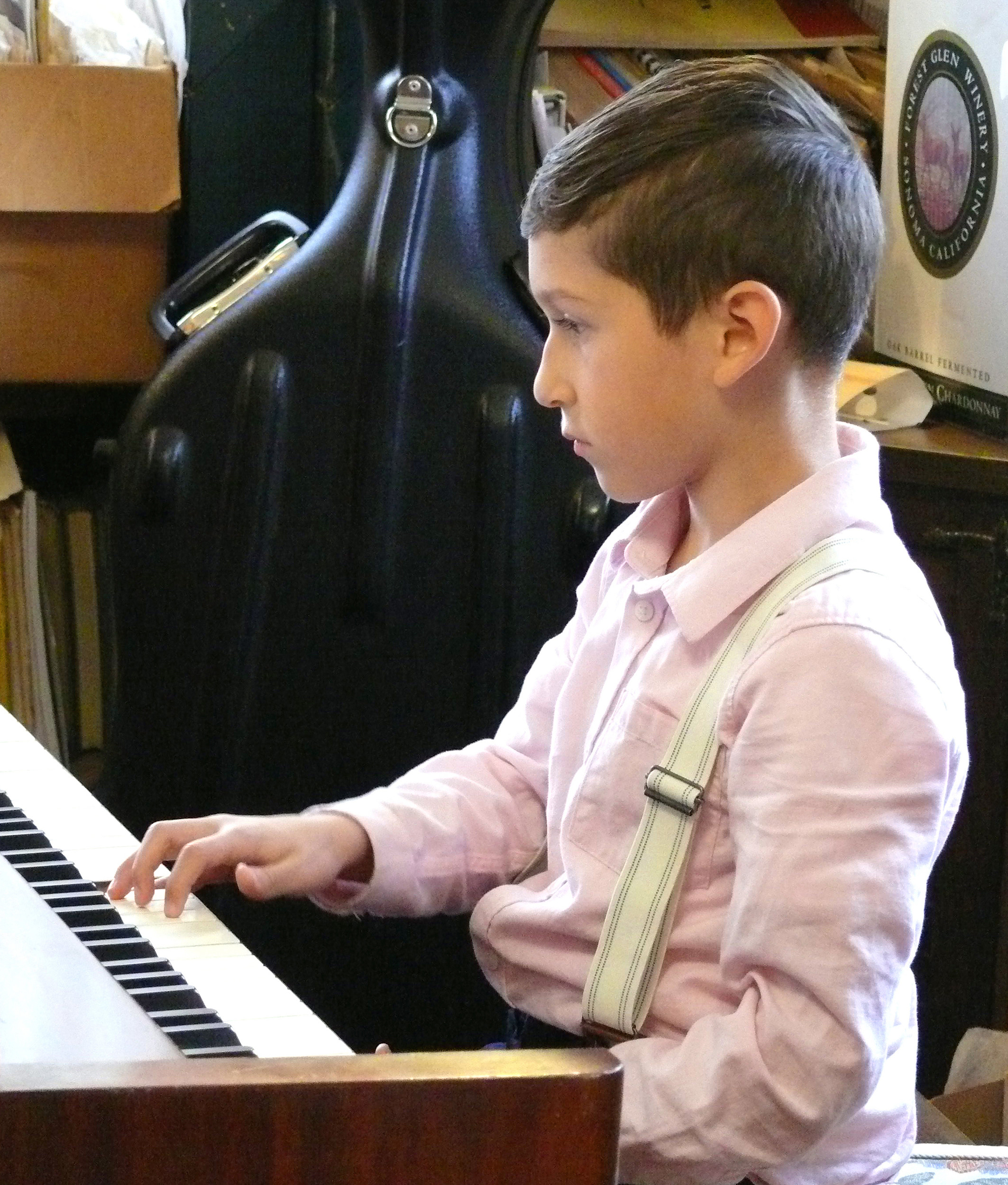 A new star at the piano was 7-year-old Kristian Fajardo, who is being taught classical piano by Lehrman. 