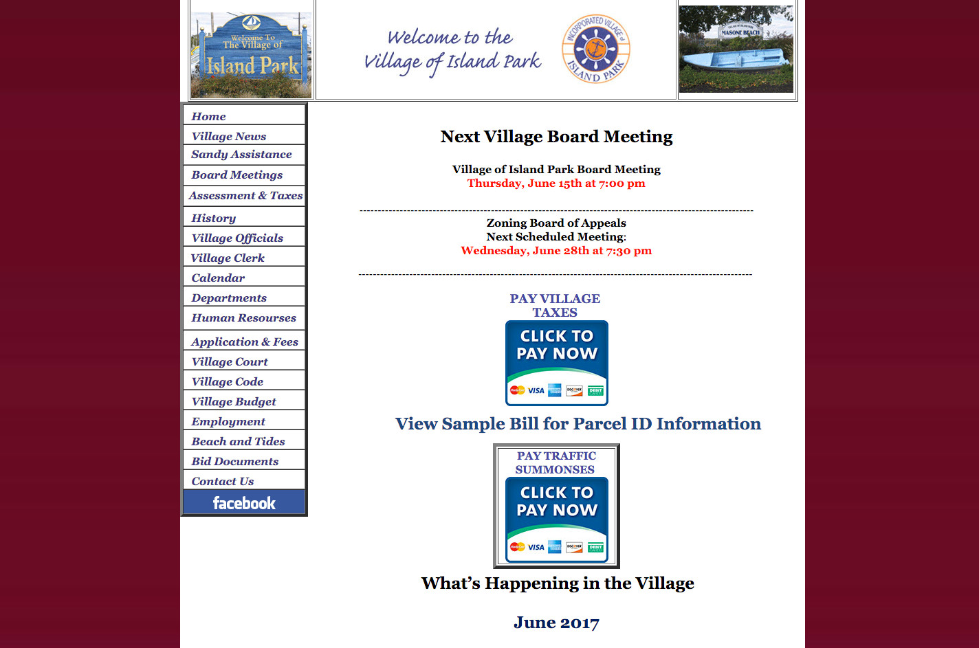 Village residents now have the option to pay their taxes online and with a credit card.