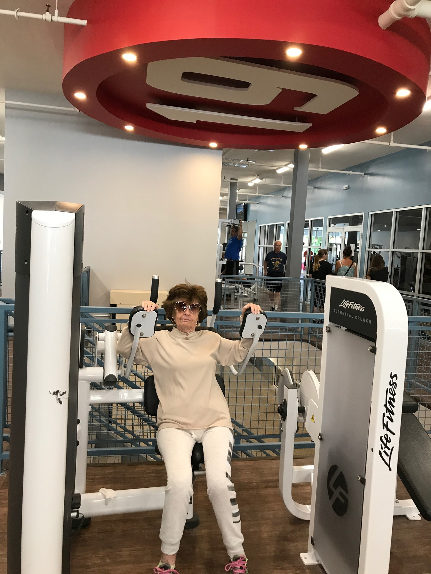 "Lynbrook resident Elaine Perez is one of about 30 senior citizens who participate in the ""senior fit"" class at Fitness 19 in Malverne every Monday and Thursday from noon to 1 p.m."