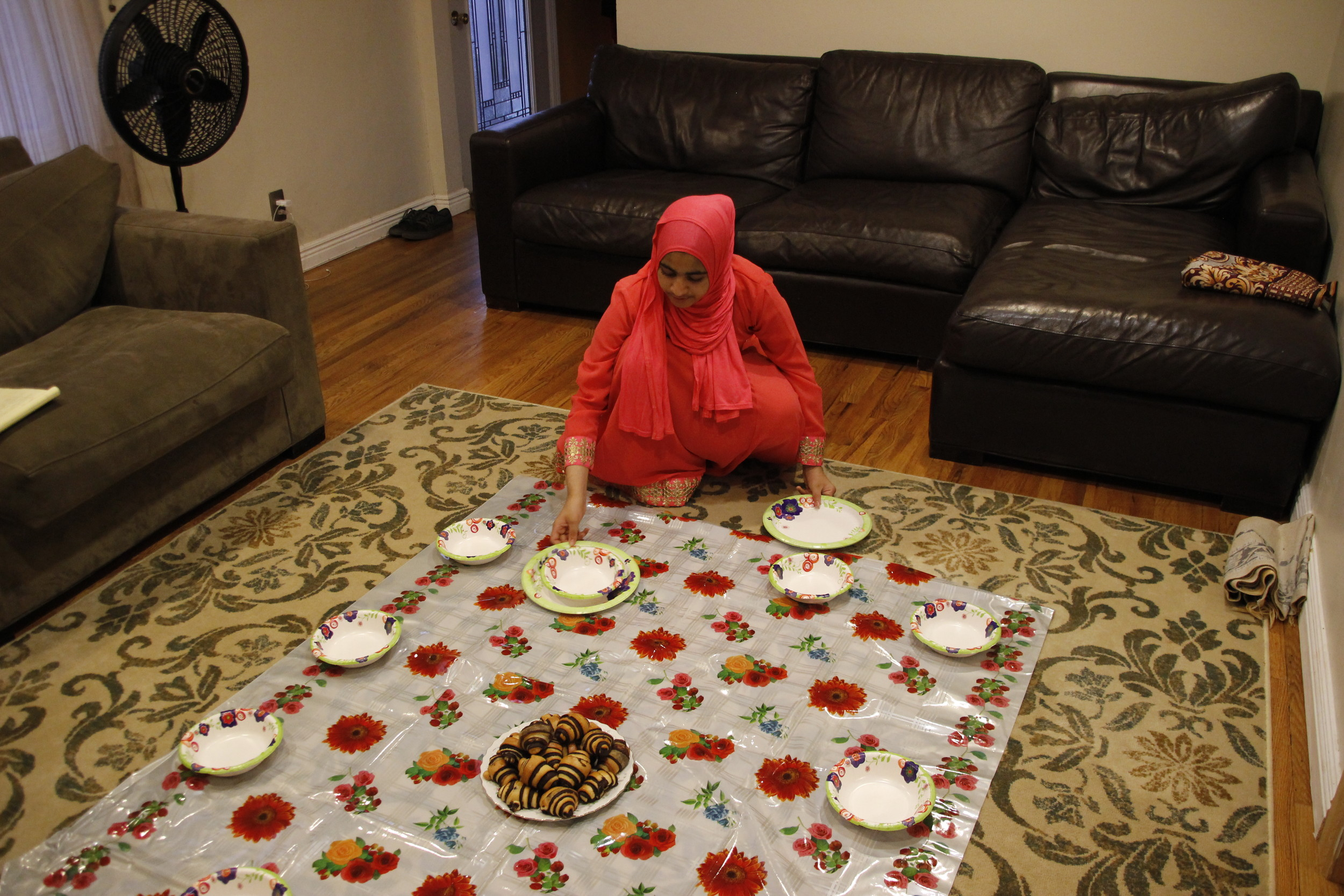 Maysa Kapadia, 14, helped with dinner set-up.