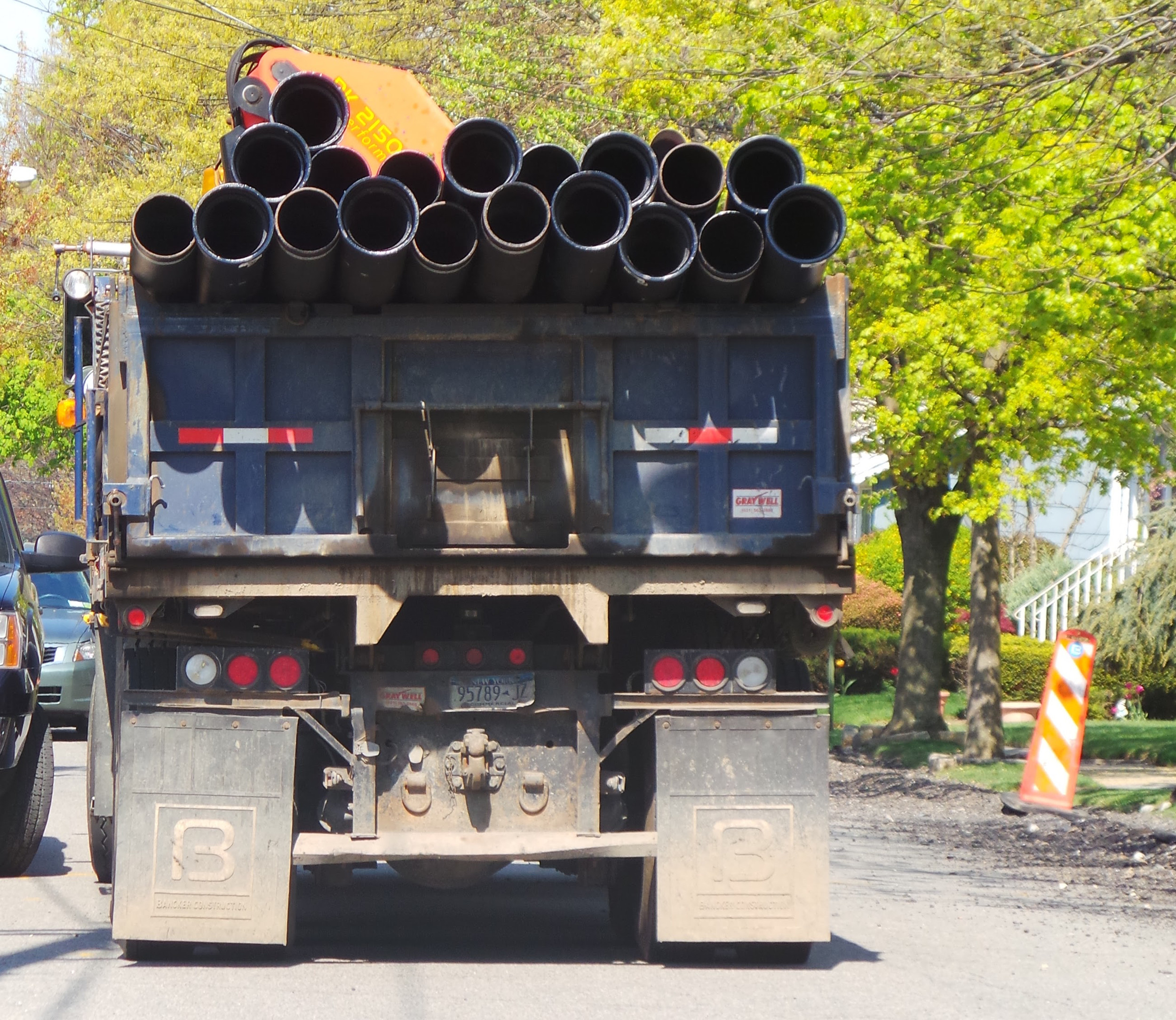 A truck carried water mains scheduled for replacement on Malverne Ave. during May 2015.