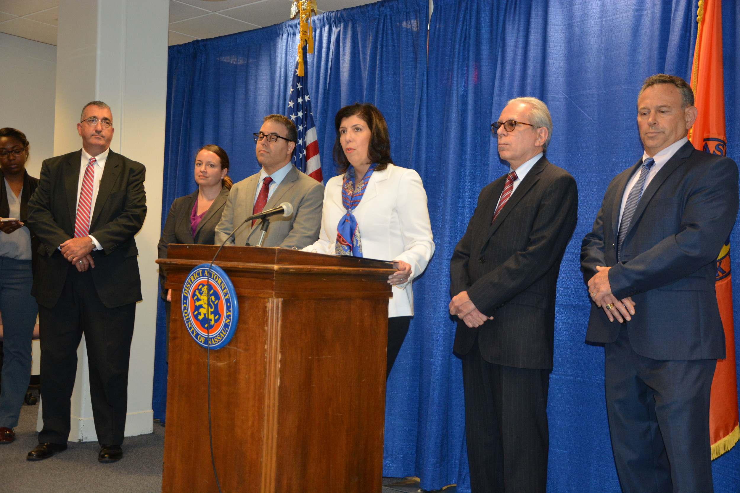 Nassau County District Attorney Madeline Singas held a press conference after the indictments of several Oyster Bay public officials on June 29.