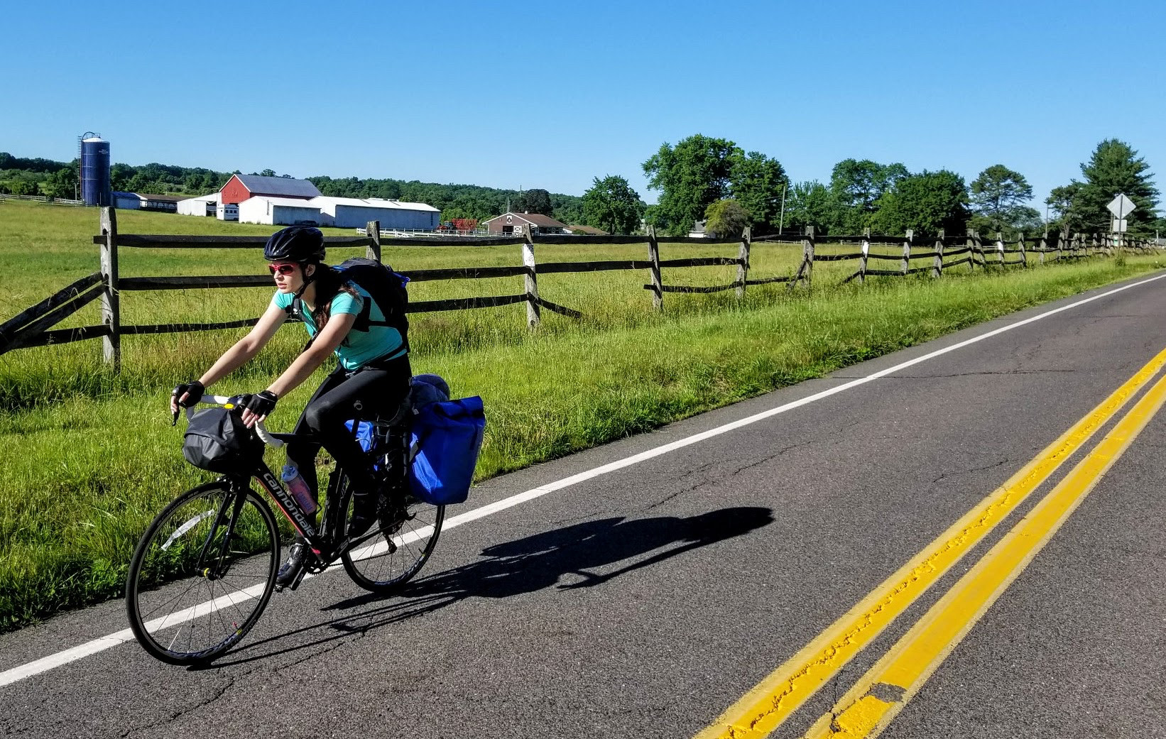 Sarah O'Connor riding through Amish country in Pennsylvania last week.