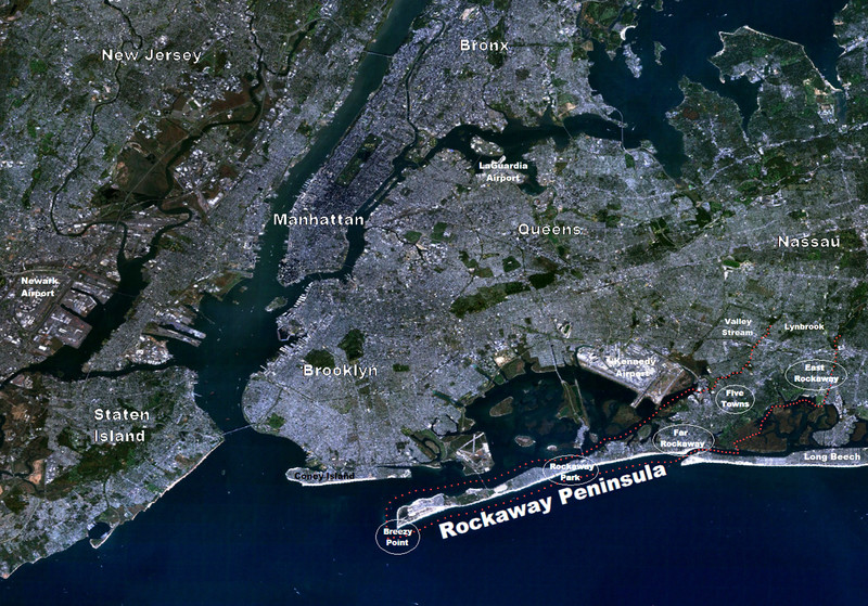 Satellite view of the New York City metropolitan area, including the Rockaway Peninsula from November 2012.