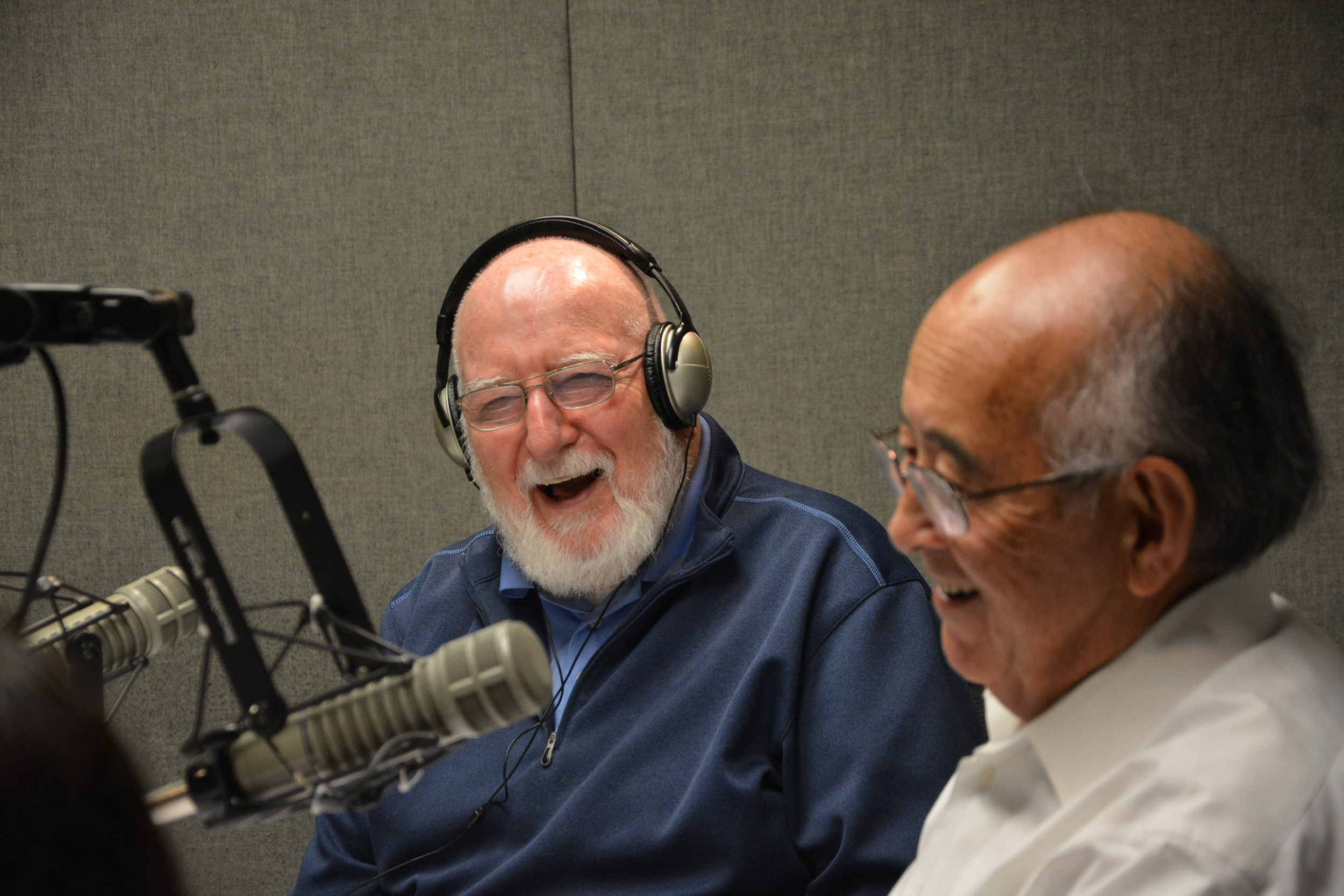 "Stuart Held, left, interviewed Bob Machida during a taping of ""Senior Moments."""