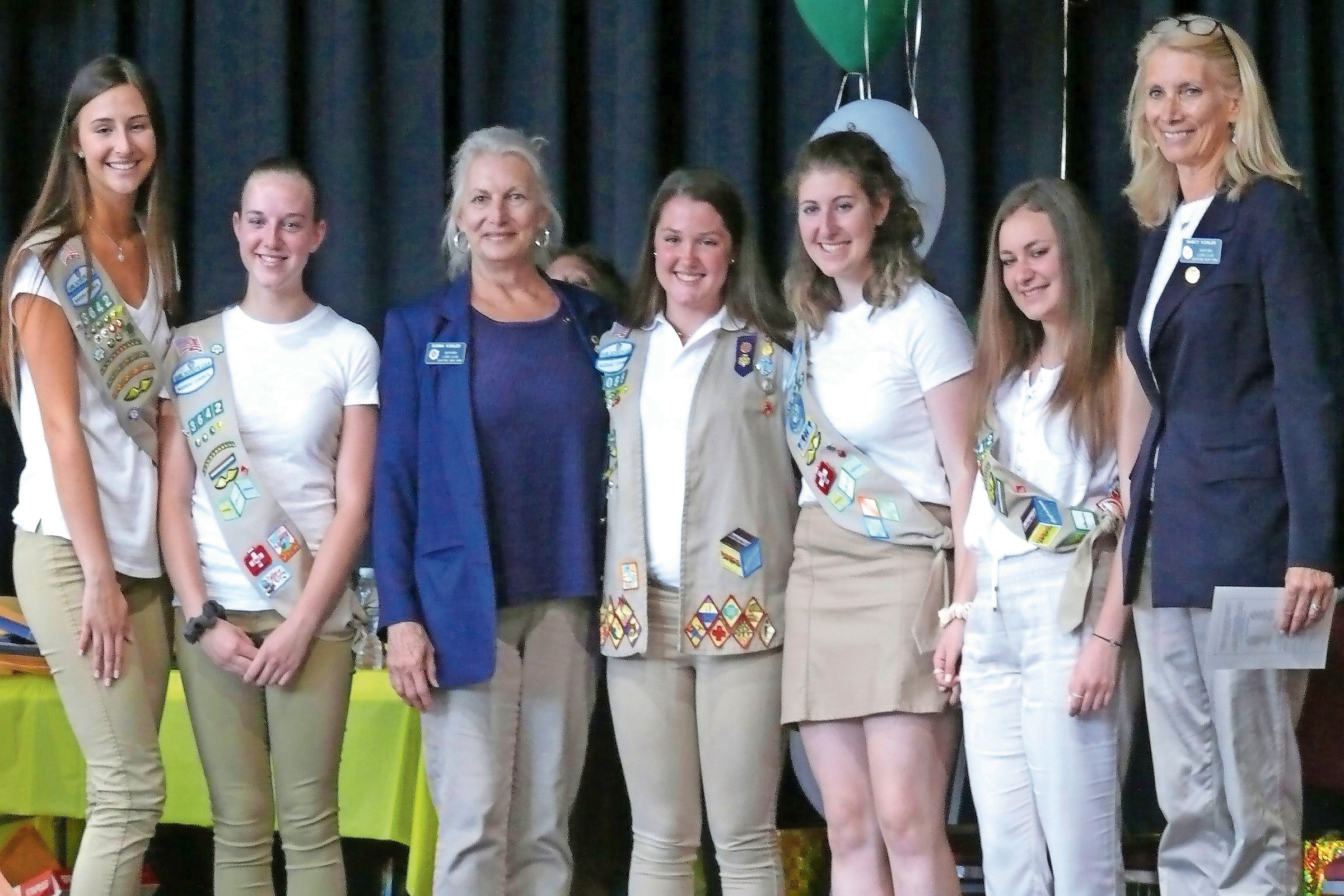 Seaford Lions Club leaders Donna and Nancy Kohler congratulated the local Girl Scout Gold Award winners: Ruth Sobey, Ashley Soliwoda, Lauren Rosenberg, Alessia Russo and Grace Anne McKenna.