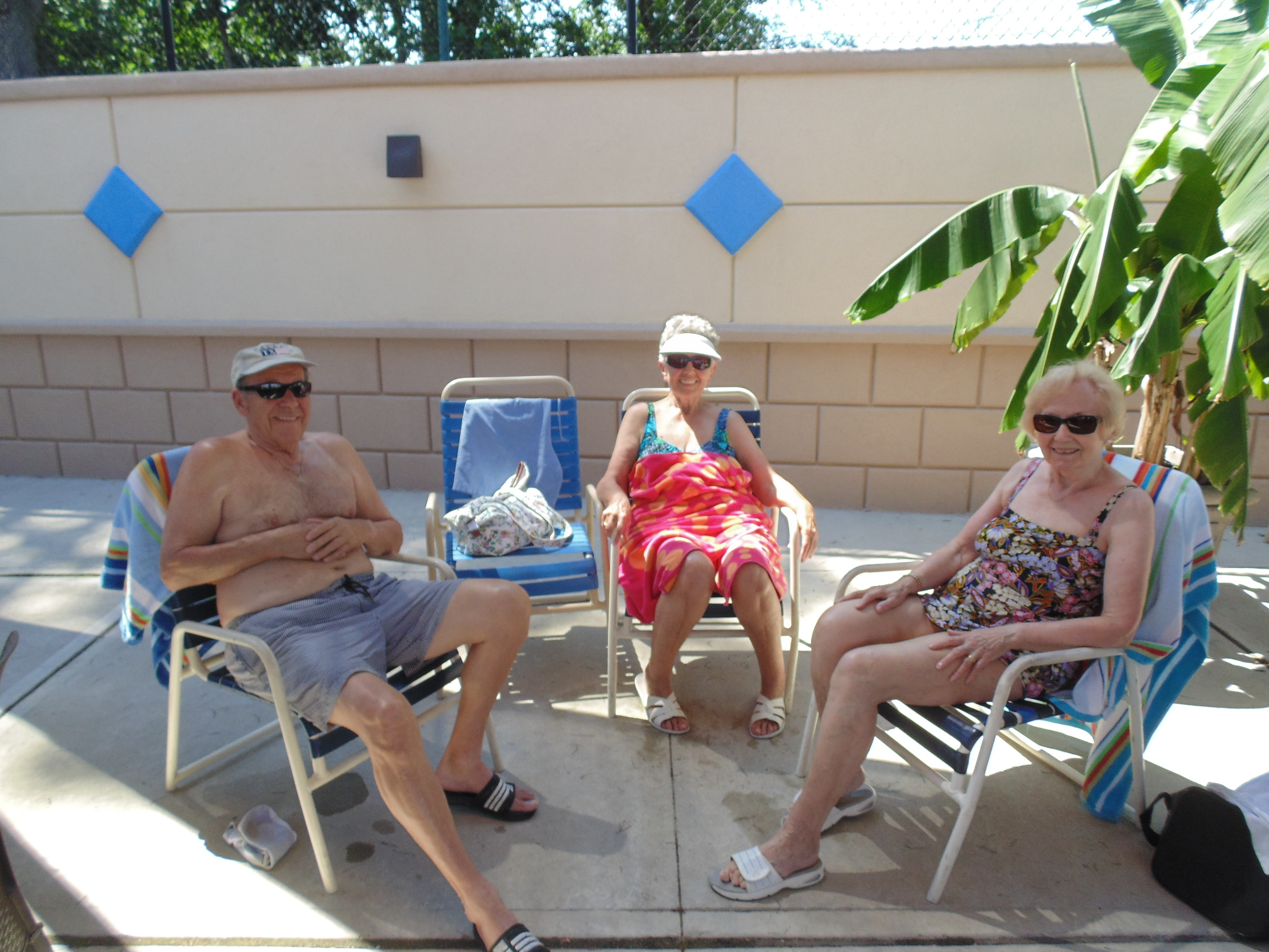Christa, center, who declined to give her last name, and her friends Otto and Ingrid have been coming to the Valley Stream pool since the 1960s.