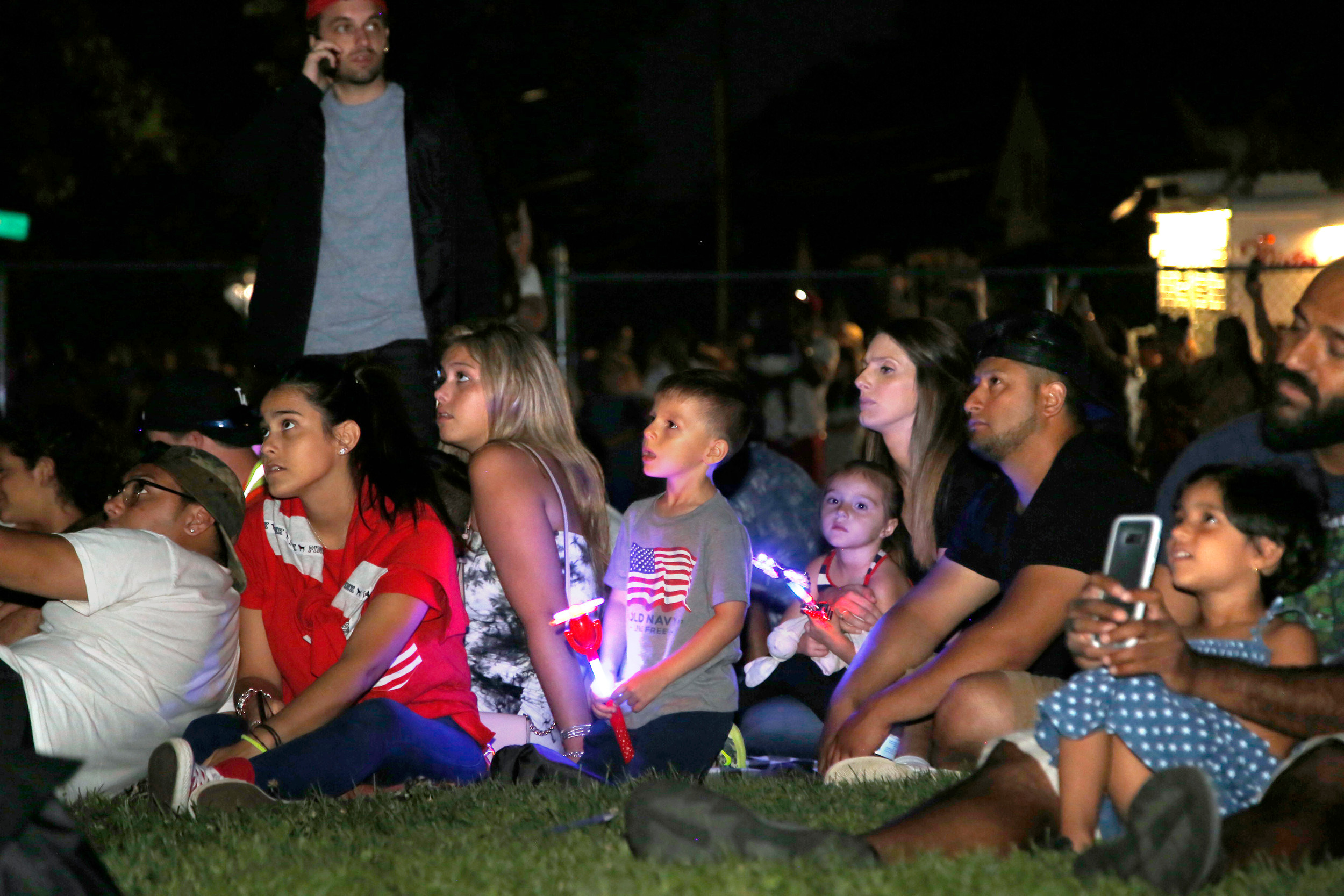 The crowd was mesmerized by the fireworks display.