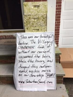 After village officials took away a beehive from his property, Robert Shepard posted a photo of a note condemning their actions on Facebook.