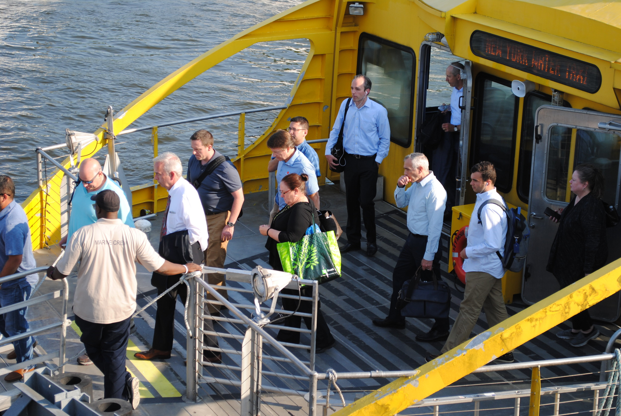The first return ferry dropped its passengers off in Glen Cove at about 6 p.m.