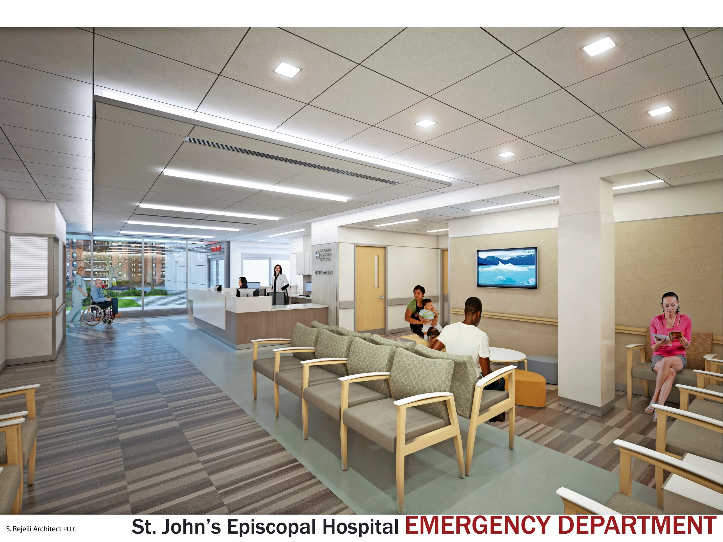 An architect's rendering of the renovated emergency department waiting area.