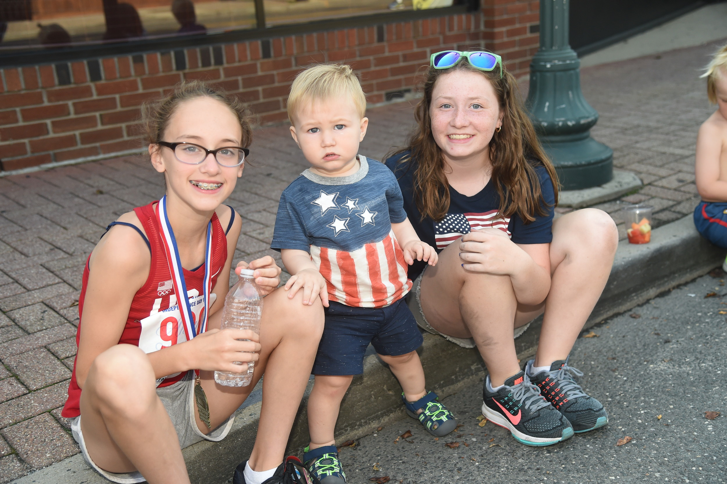 Aislinn, 10, Declan, 1, and Allison Frazer, 12, took a break.