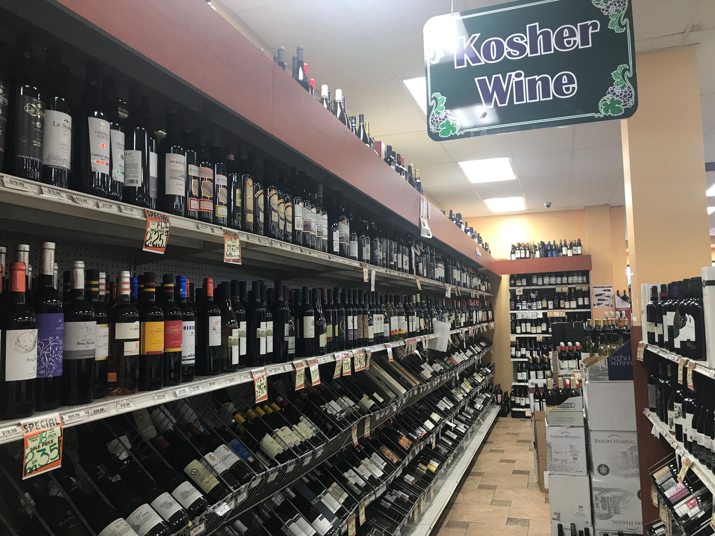 Liquor & Wine Warehouse in Lawrence has an extensive collection of kosher wines.
