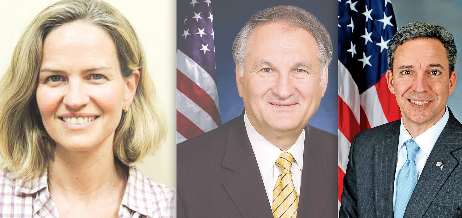 Currently there are three candidates for county executive. From left Democrats Laura Curran and George Maragos, and Republican Jack Martins.