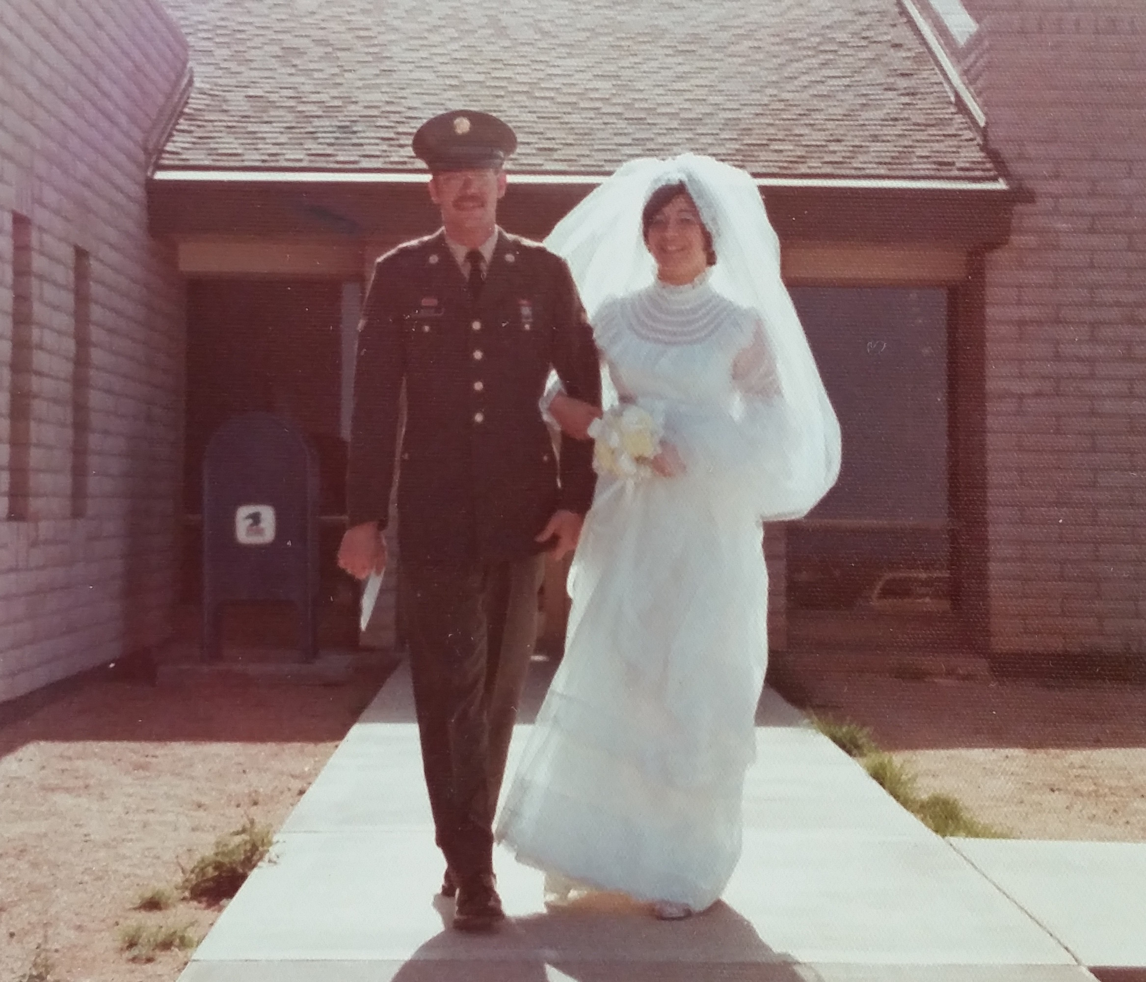Mill Mathis and Stephanie Rossetti wed at a town hall in Cochise County, Ariz.. in May 1975 while they were stationed at Fort Huachuca.
