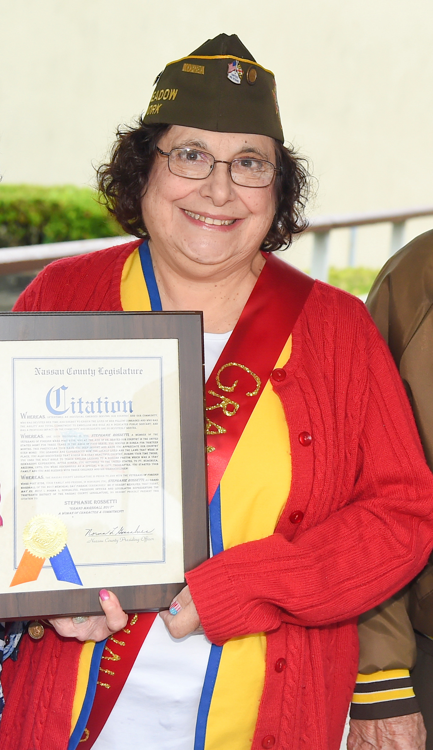 Stephanie Rossetti, who was the first female grand marshal in East Meadow's Memorial Day Parade history, received a citation from the Town of Hempstead for her service.