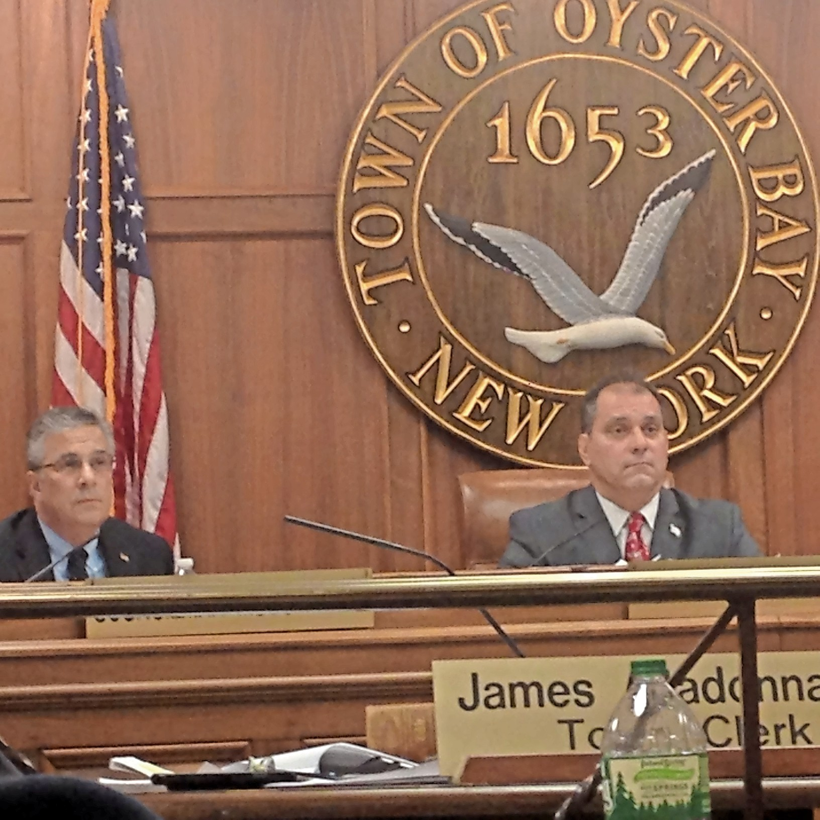 Town Councilman Joseph Muscarella, left, and Supervisor Joseph Saladino at a recent Town of Oyster Bay board meeting.