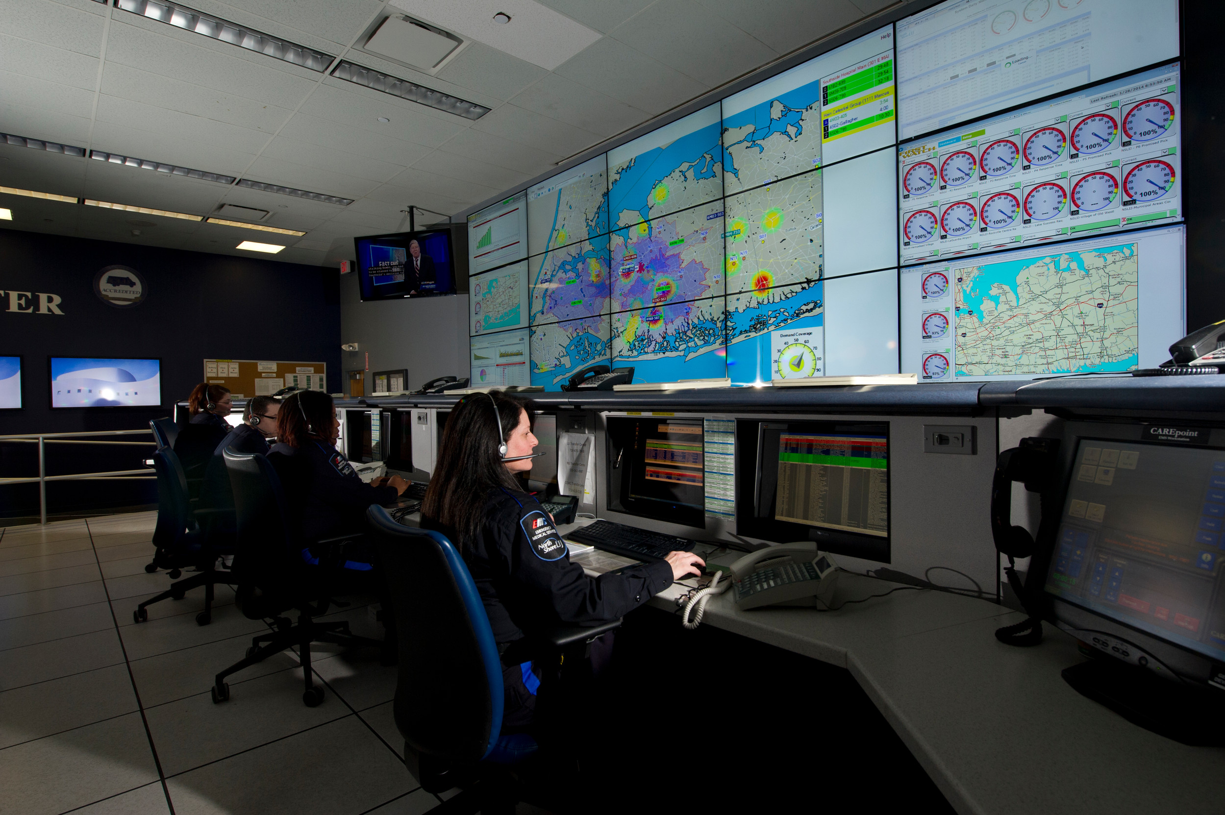 Northwell Health's EMS Communications Center in Syosset can predict where ambulances will be needed based on historical data.