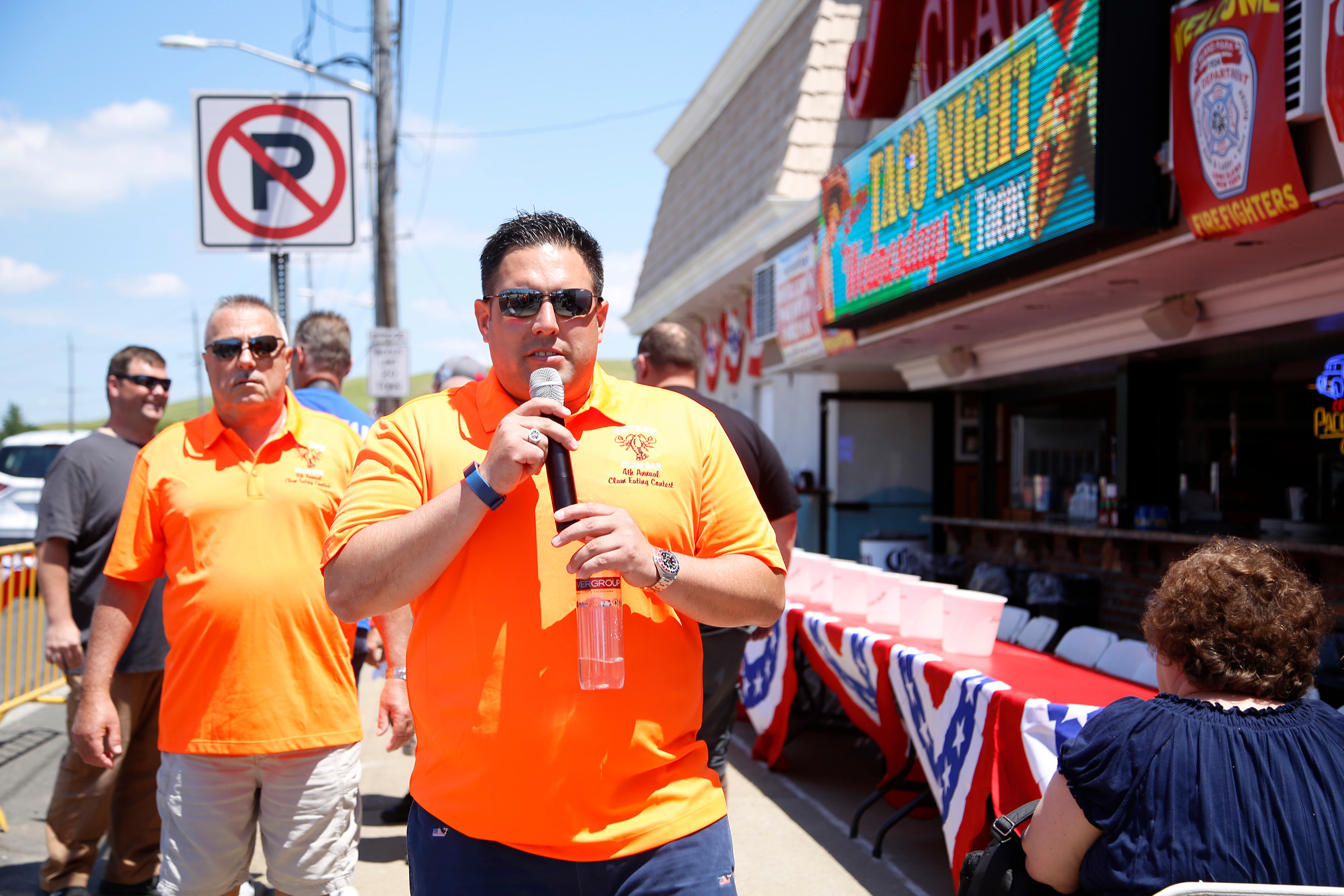Town Councilman Anthony D'Esposito organizes the contestants.