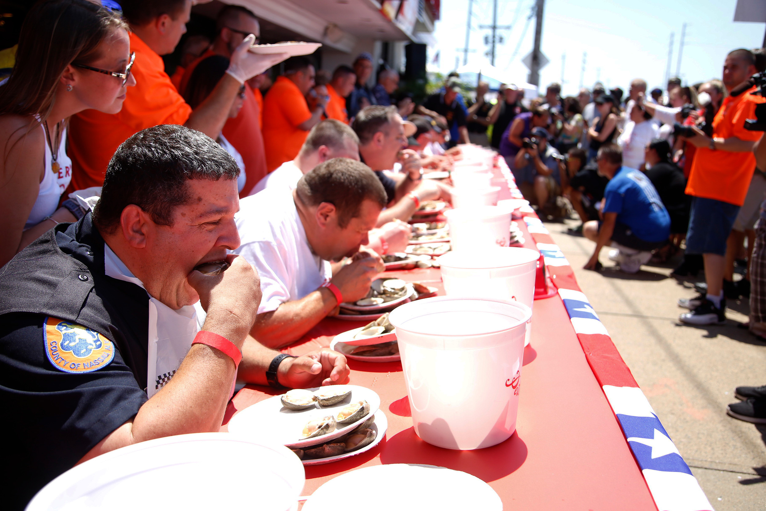 Local firefighters came to Peter's Clam Bar in Island Park on July 16 to compete in the annual Long Island Clam Eating Contest.