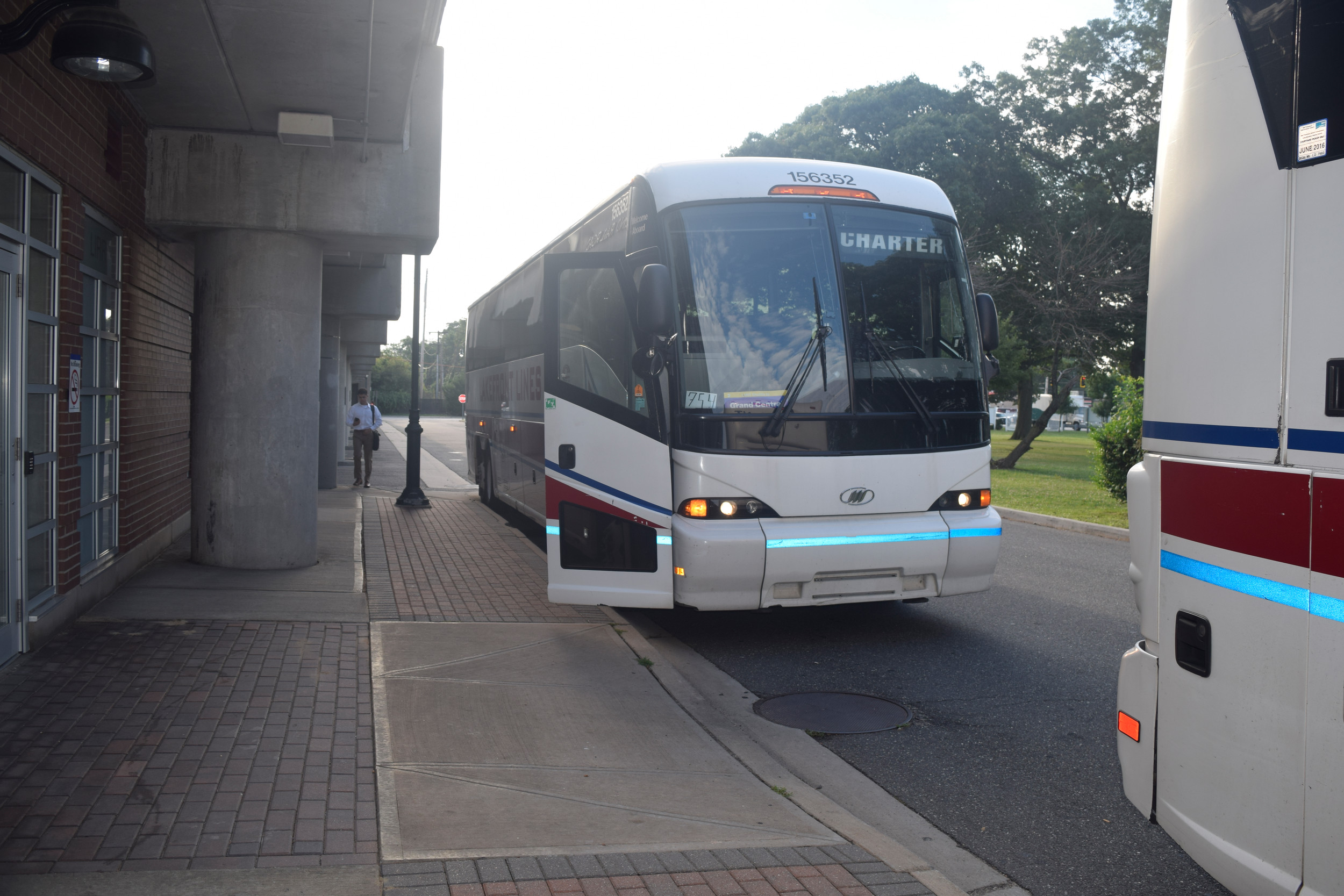 Local commuters may board charter buses to New York City at the Seaford station.