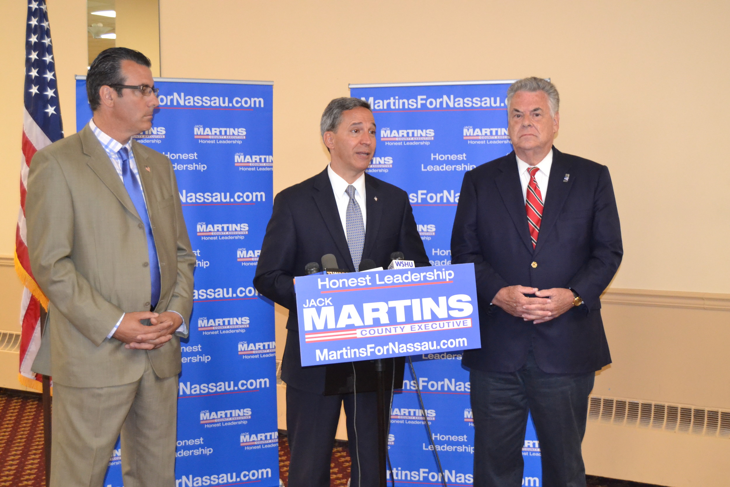 U.S. Rep. Peter King, far right, a Republican from Seaford, endorsed Jack Martins, center, for Nassau County executive. Massapequa Park Mayor Jeffrey Pravato, left, also attended the news conference about King's endorsement on July 5.