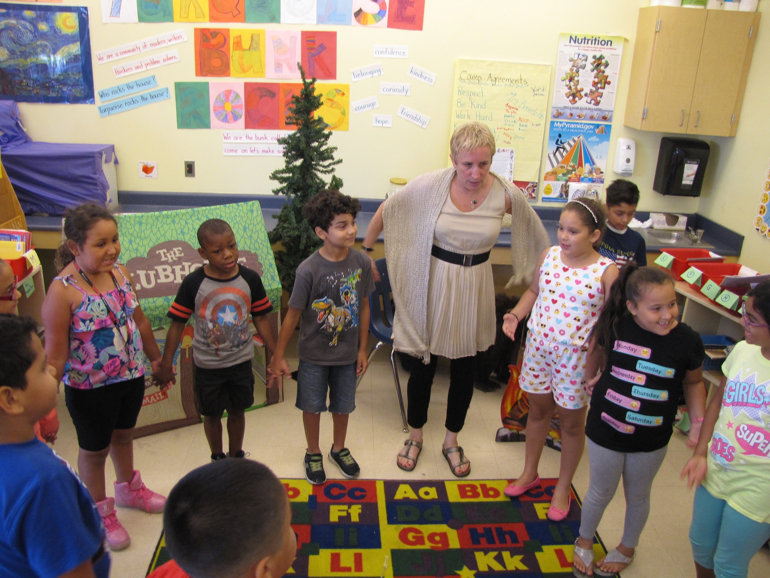 The Freeport Public Schools became one of the first districts on Long Island to host LitCamp, a new four-week summer literacy program created by renowned author and literacy expert Pam Allyn, center.